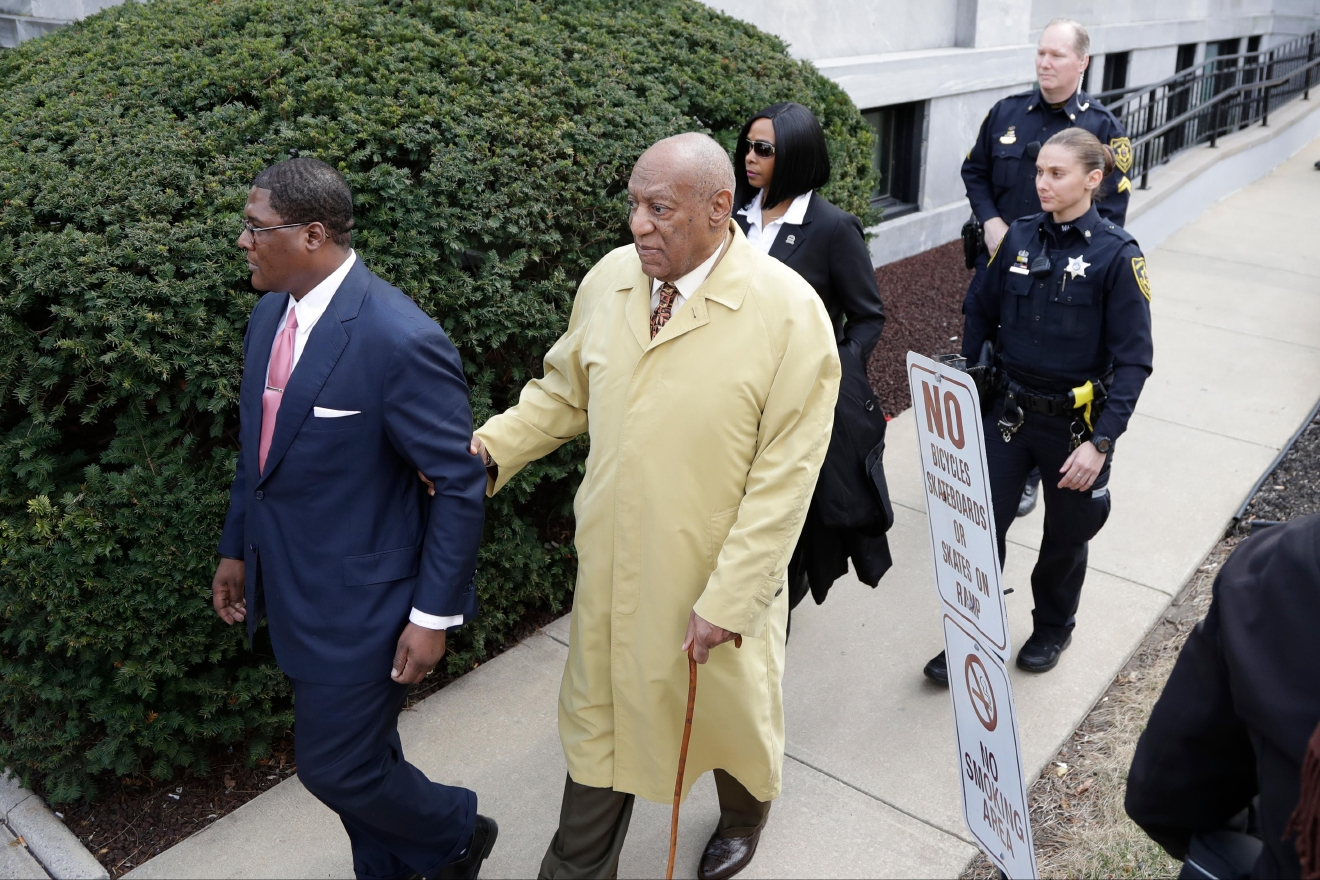 Bill Cosby departs after a pretrial hearing in his sexual assault case at the Montgomery County Courthouse, Monday, Feb. 27, 2017, in Norristown, Pa. (AP Photo/Matt Slocum)
