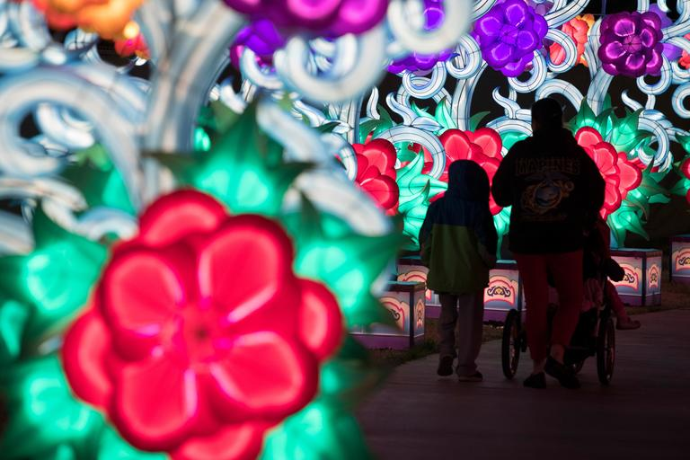 People stroll along a walkway on the opening night of the China Lights lantern festival Friday, January 19, 2018, at Craig Ranch Regional Park in North Las Vegas. The festival, which features nearly 50 silk and LED light displays comprised of over 1000 elements, runs through February 25th. CREDIT: Sam Morris/Las Vegas News Bureau