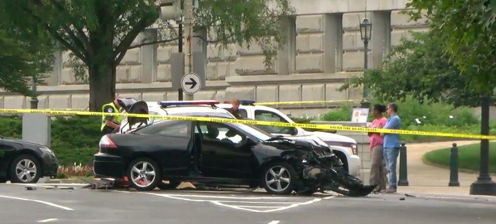 Photo of car that collided with a barricade and police cruiser near Capitol Hill, Monday, July 17, 2017 (ABC7 photo)