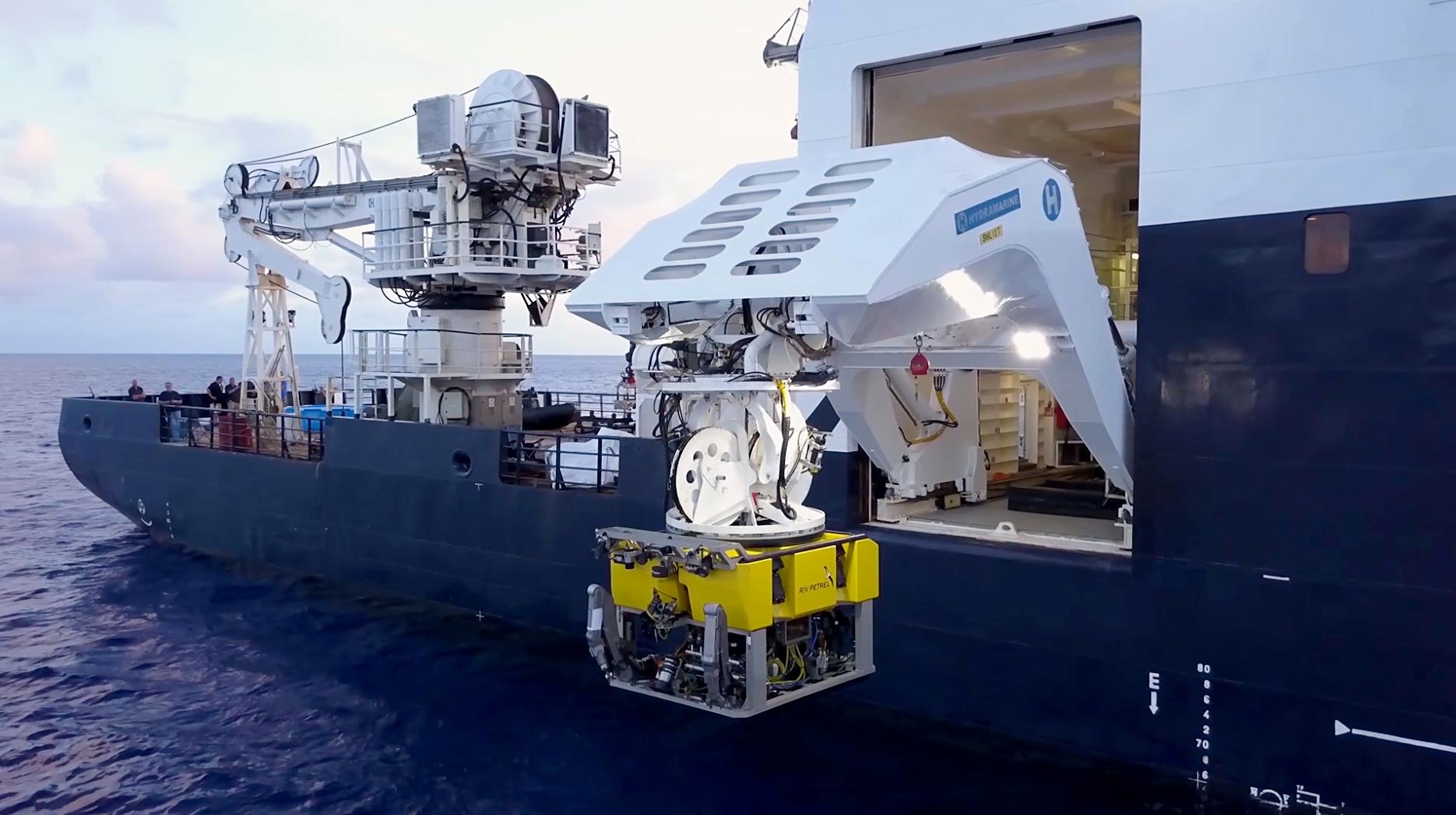 The BXL79 ROV is deployed from the R/V Petrel. The remotely operated underwater vehicle can conduct missions up to 7,000 meters deep. Photo courtesy of Paul G. Allen