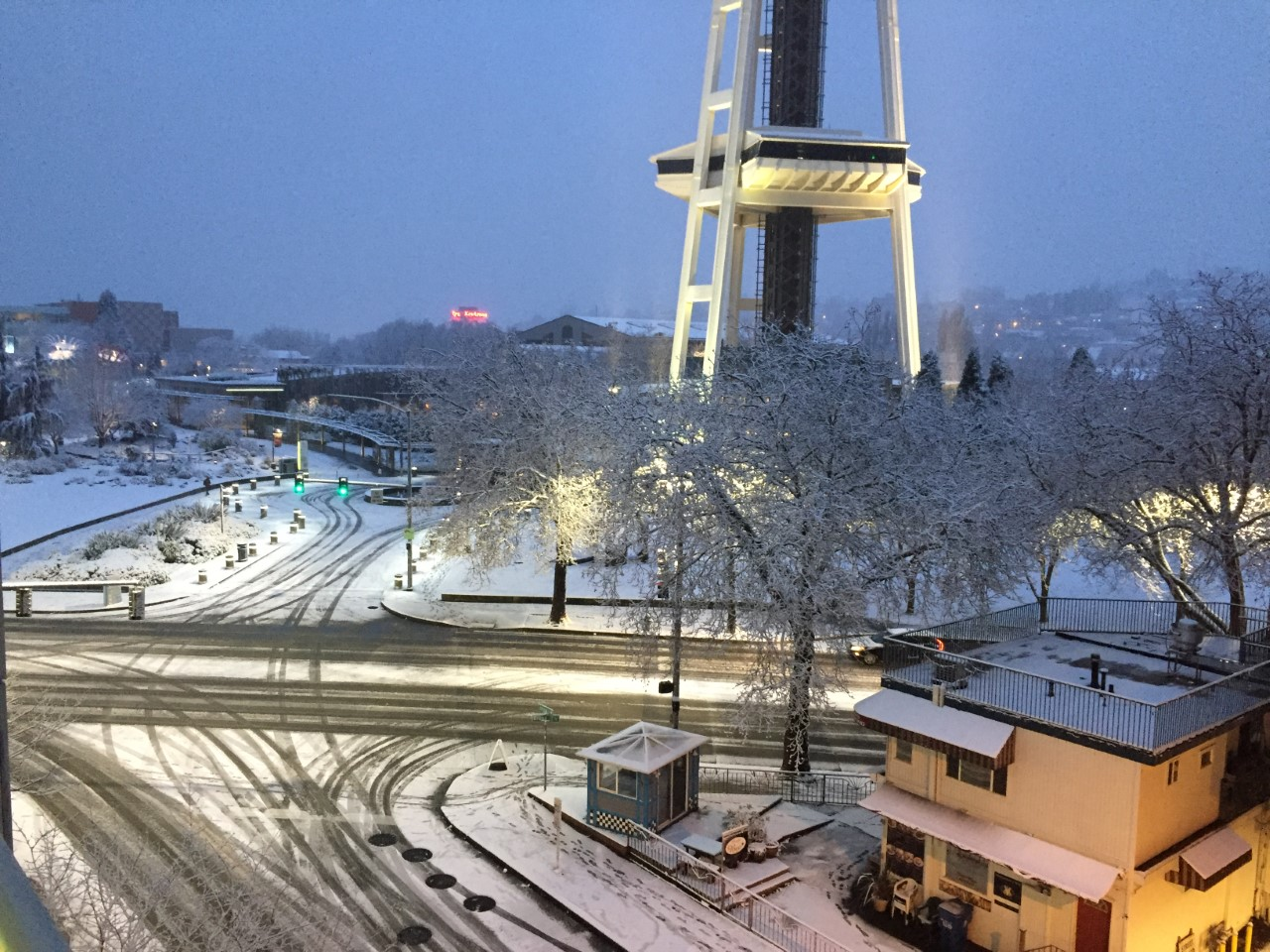 Seattle Center snow (KOMO Staff)