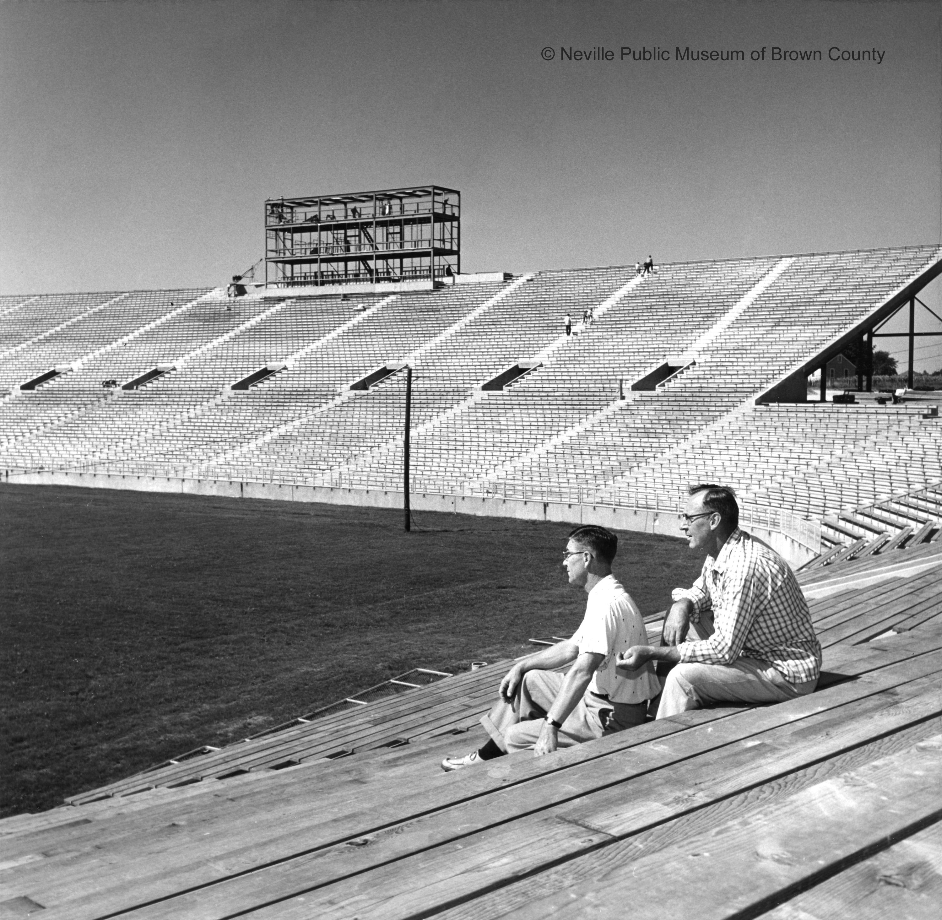 New City Stadium nearing completion following a 1956 referendum approved by taxpayers. The stadium would open September 29, 1957 against the Chicago Bears. (Courtesy: Neville Public Museum of Brown County)