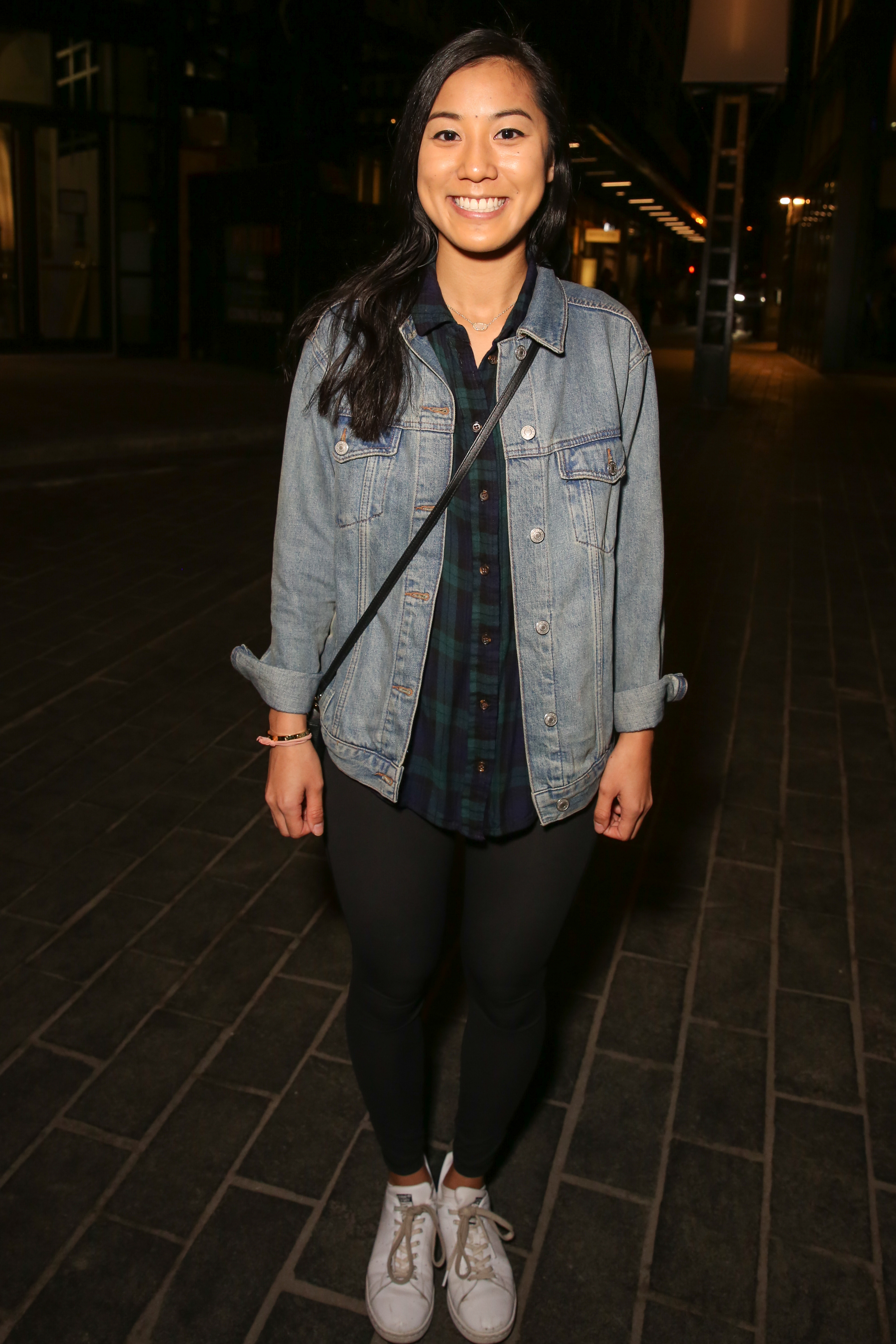 Tammy Vo is rocking a flannel, jean jacket and leggings. Why mess with a classic?{&nbsp;}(Amanda Andrade-Rhoades/DC Refined)<p></p>