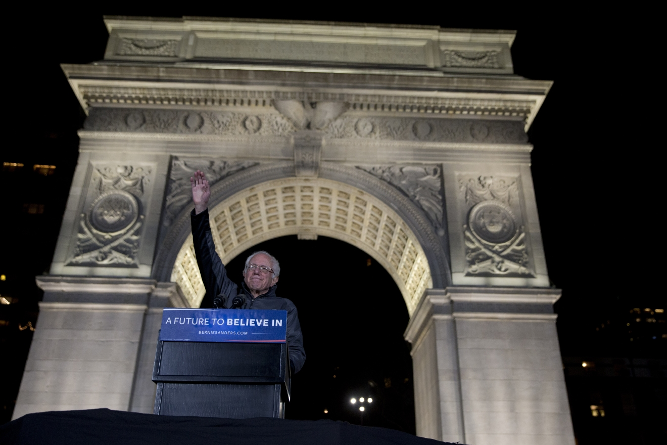 Democratic presidential candidate, Sen. Bernie Sanders, I-Vt.,  waves at the crowd during a campaign rally at Washington Square, Wednesday, April 13, 2016 in New York. (AP Photo/Mary Altaffer)
