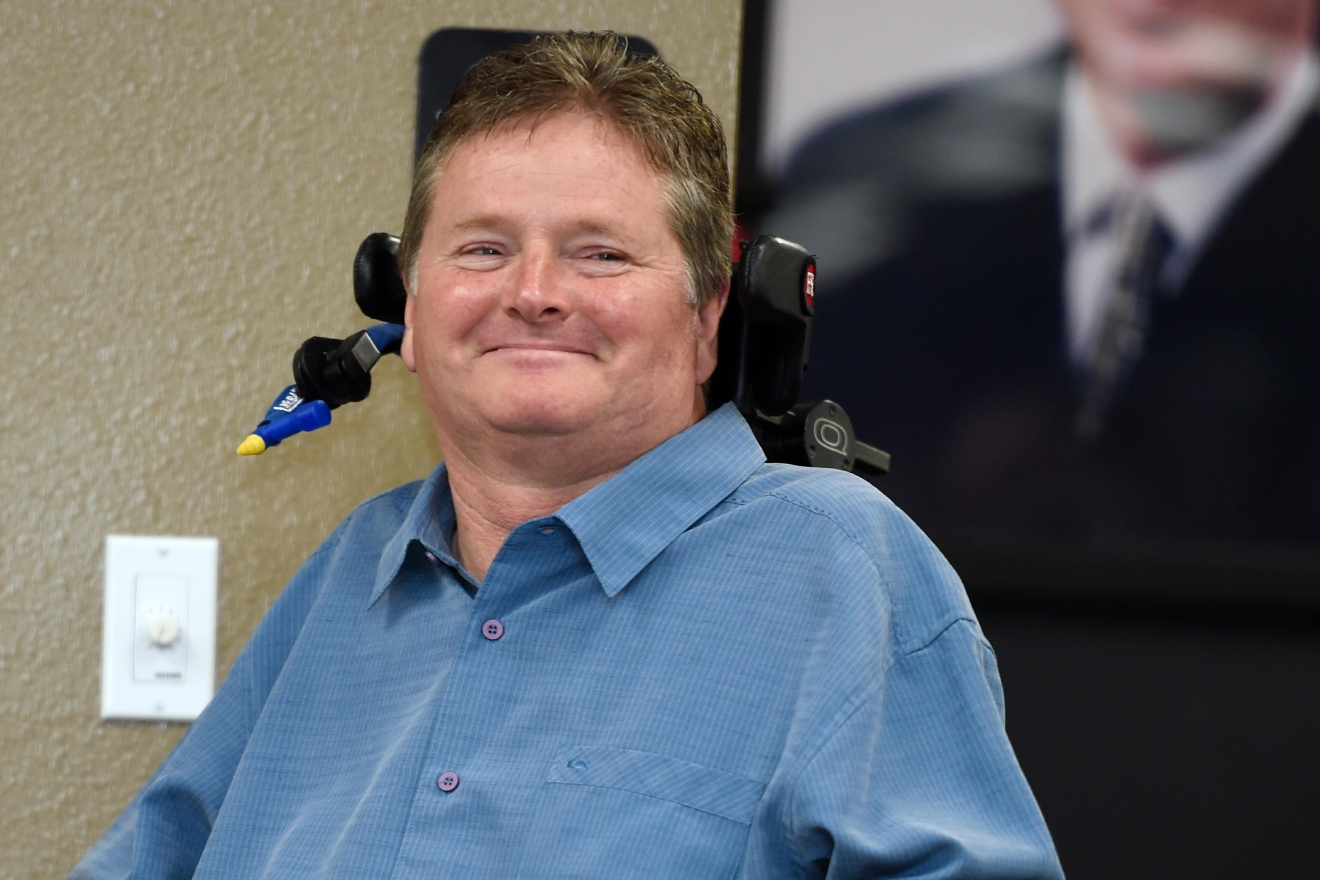Former Indy car driver and current team owner Sam Schmidt smiles while being introduced during a news conference to announce the 2017 inductees into the Southern Nevada Sports Hall of Fame Tuesday, March 14, 2017. [Sam Morris/Las Vegas News Bureau]