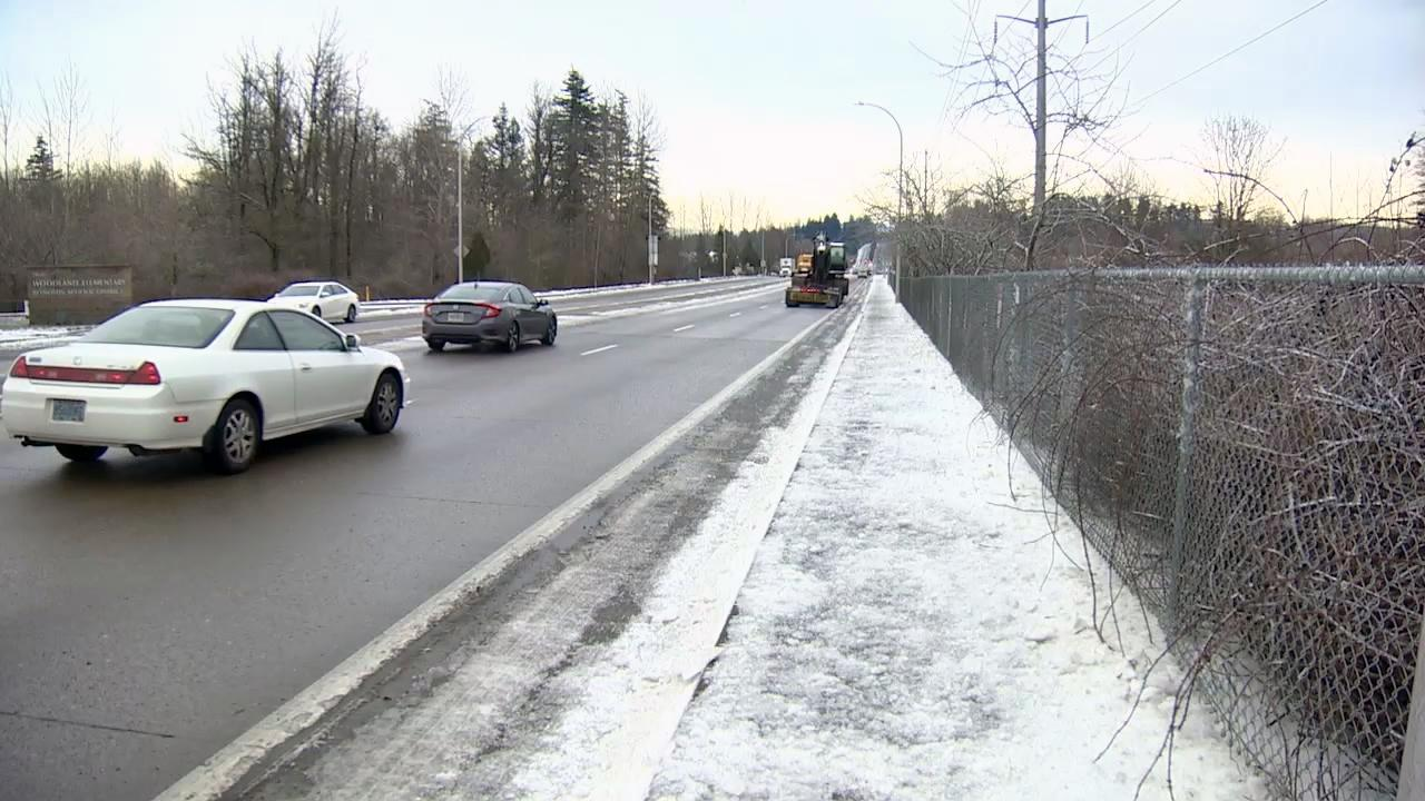 Cars made their way over roads mostly clear of ice and snow Tuesday, but some of the side streets and roads at higher elevations were still dicey. (KATU Photo)