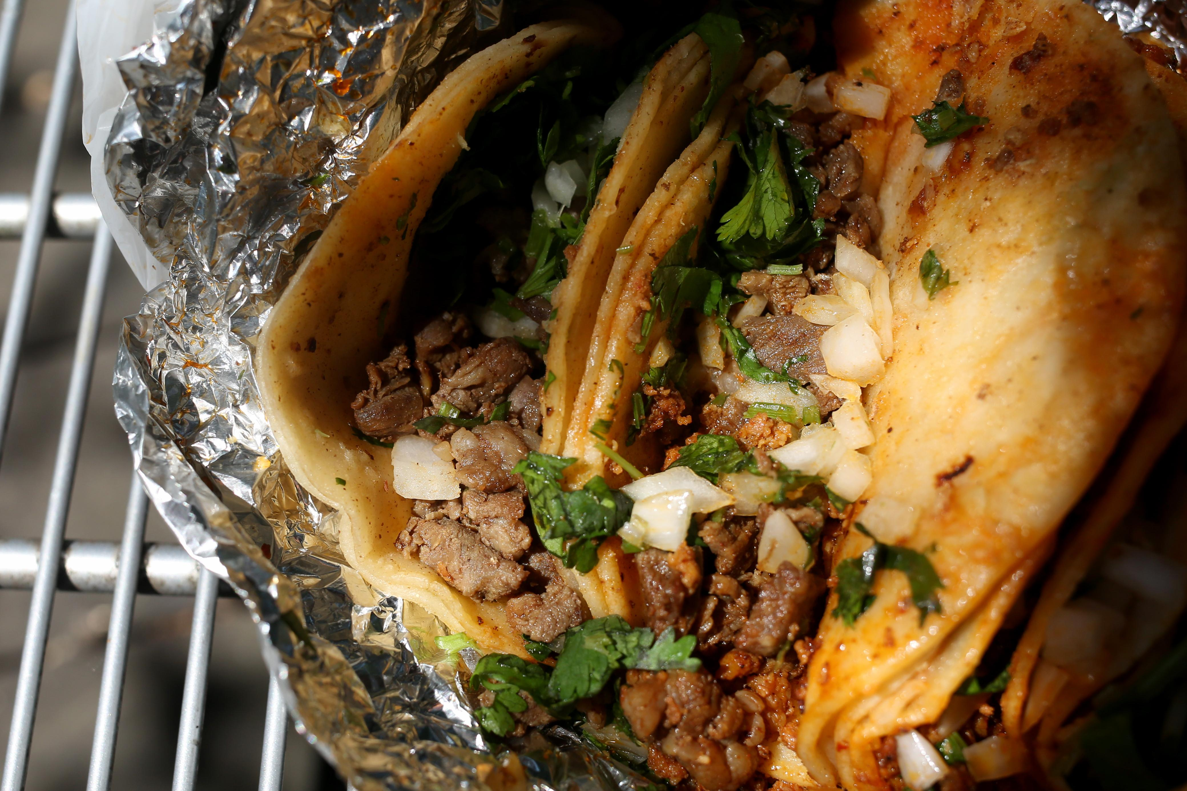 Asada is typically a thin meat and a lot of East Coast tacos try to compensate with large pieces, but Tacos el Chilango keeps it smaller and more edible. This means all the salsas have a chance to seep in and take full effect. (Amanda Andrade-Rhoades/DC Refined)