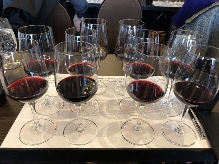 Wine flight for Washington vs. The World seminar. (Image: Frank Guanco)