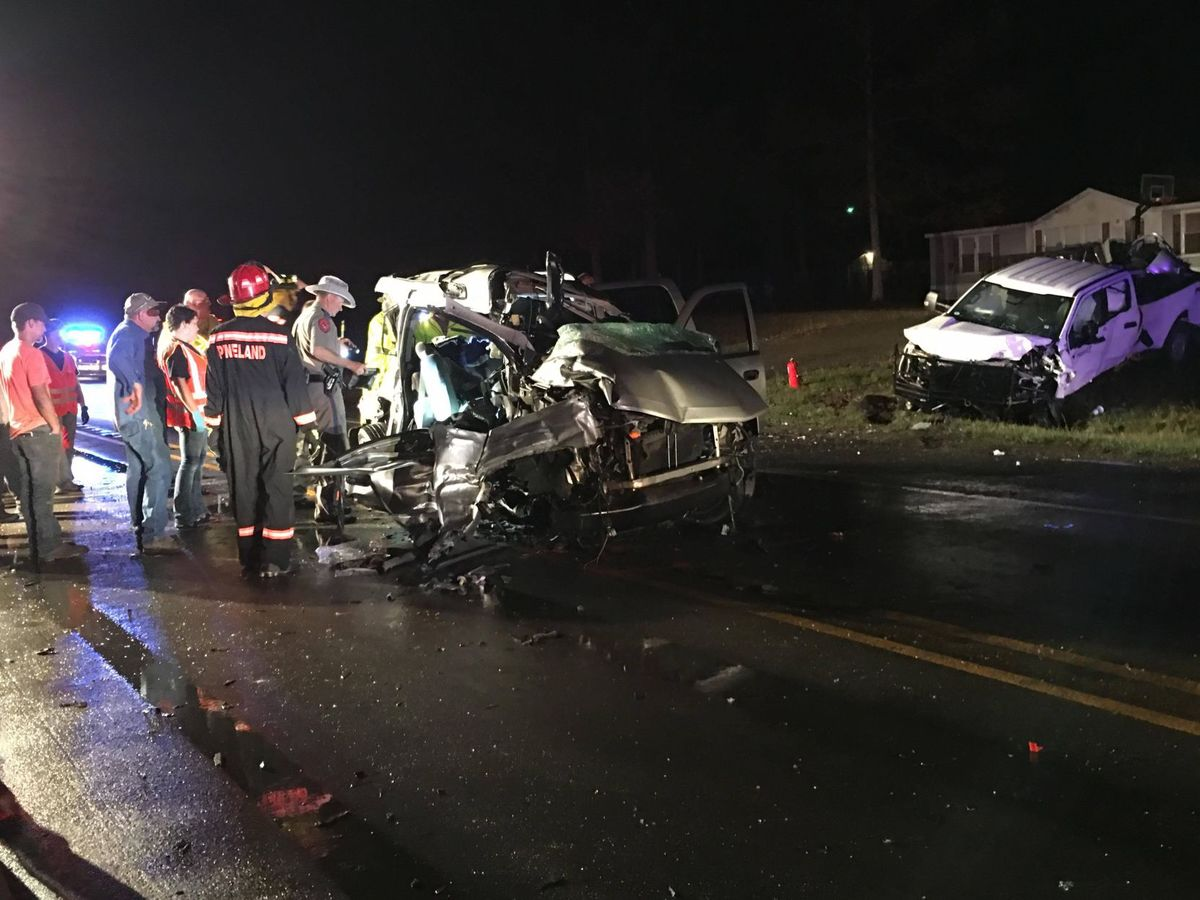 <p>The fatal crash happened on Highway 96, just south of Pineland, as rain was falling across the region. State troopers said the SUV which the family was traveling in hydroplaned out of control, and was then struck by an oncoming pickup truck. (Photo by Pennie Ferguson of www.DailyNewsAndMore.com)</p>