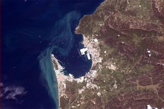 Gibraltar has a busy harbour. (Photo & Caption: Col. Chris Hadfield, NASA)