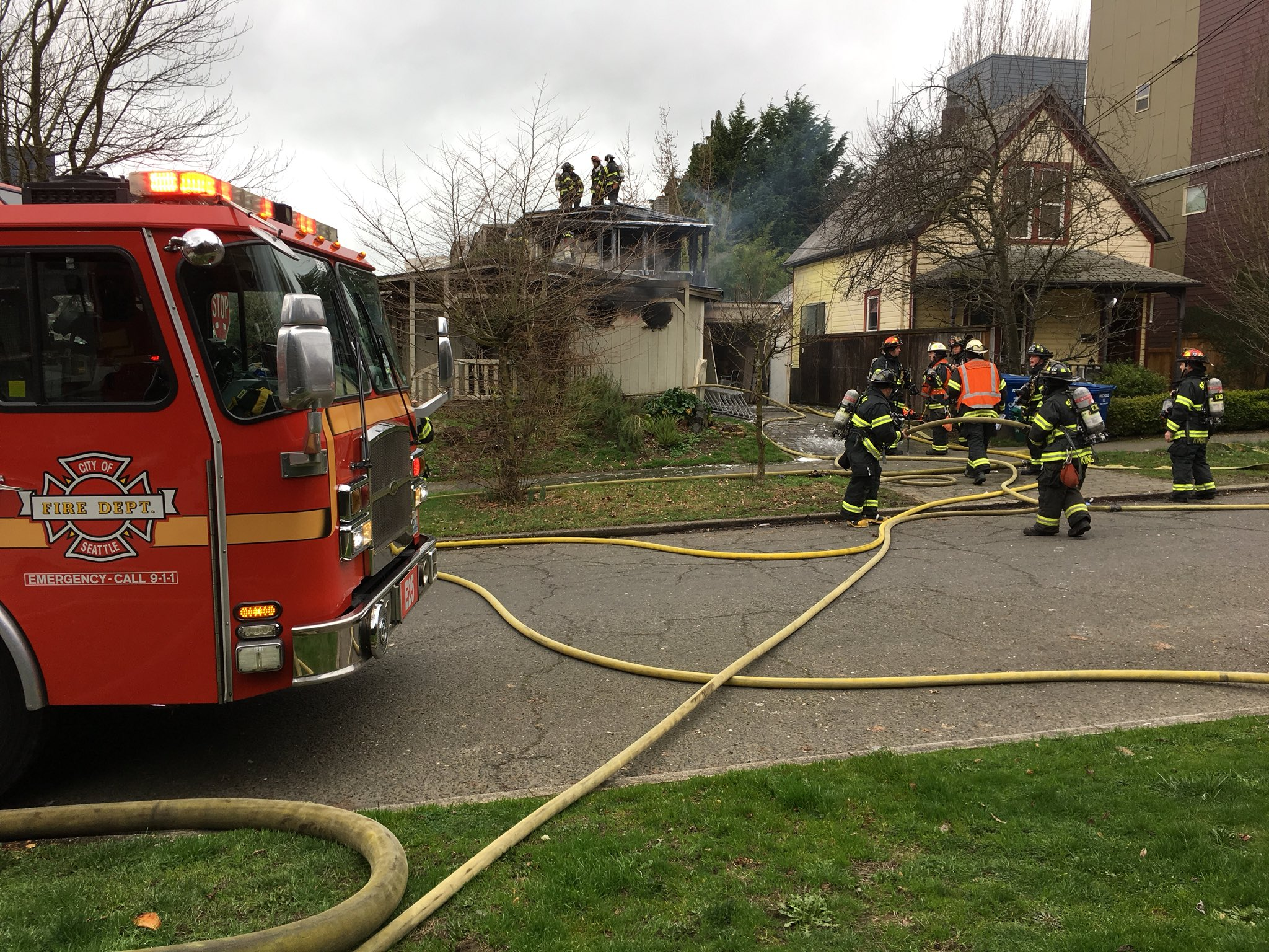 Seattle Firefighters douse a blaze at a building near Seattle University (Photo: KOMO News)<p></p>