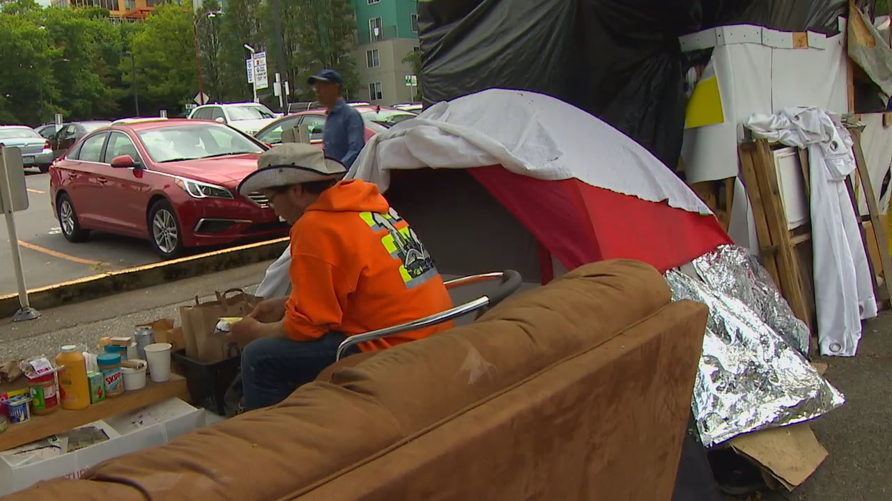 Homeless encampment in Seattle<p></p>