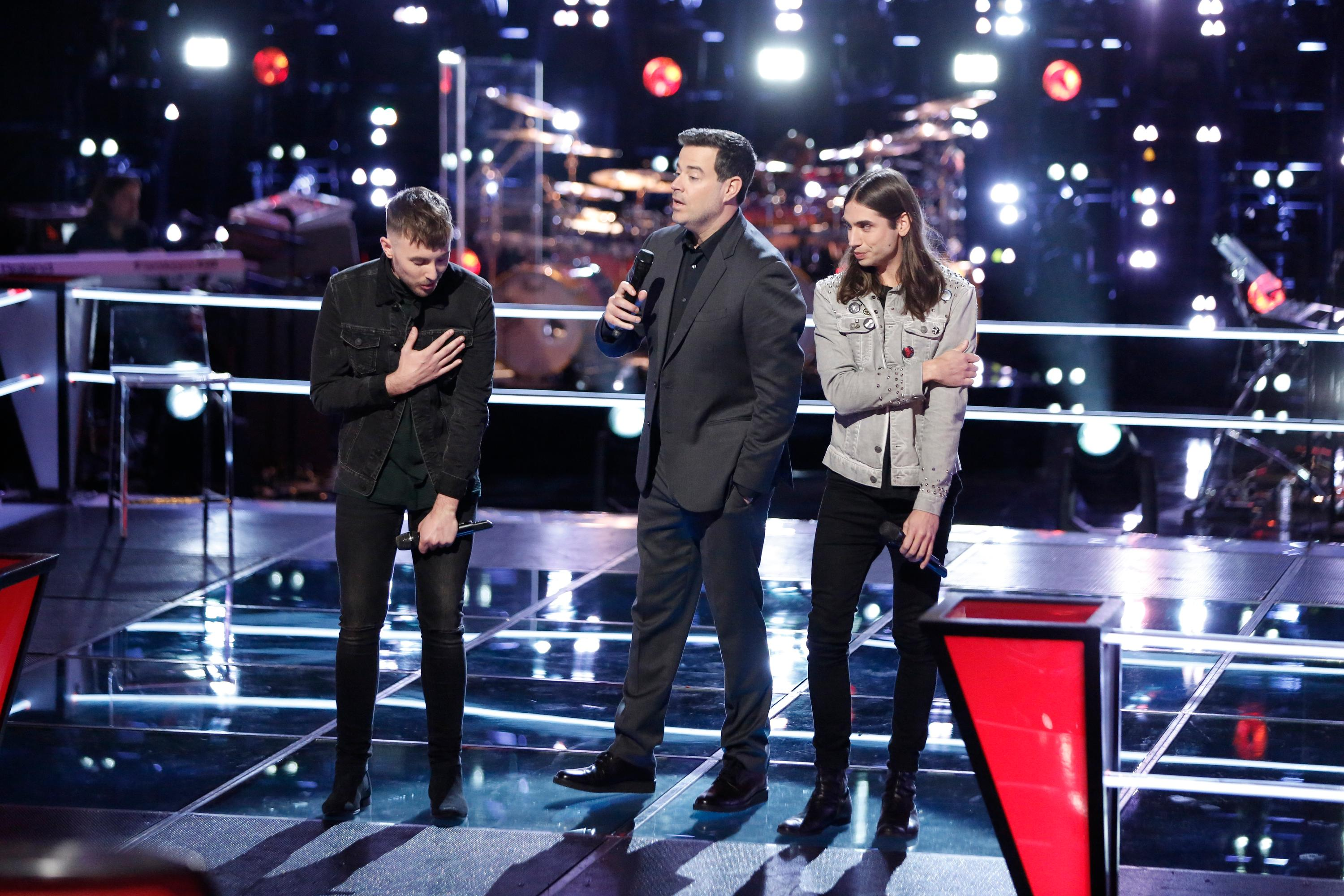 "THE VOICE -- ""Knockout Rounds"" -- Pictured: (l-r) Hunter Plake, Carson Daly, Johnny Gates -- (Photo by: Tyler Golden/NBC)"