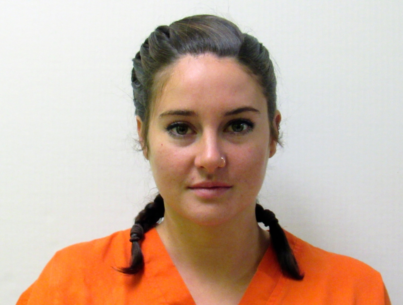 This October 2016 photo provided by the Morton County Sheriff's Department in Mandan, N.D., shows actress Shailene Woodley who was arrested Monday, Oct. 10, 2016, during a protest against the Dakota Access pipeline. Woodley is scheduled to appear in a North Dakota court Oct. 24 on criminal trespass and riot charges. (Morton County Sheriff's Department via AP)