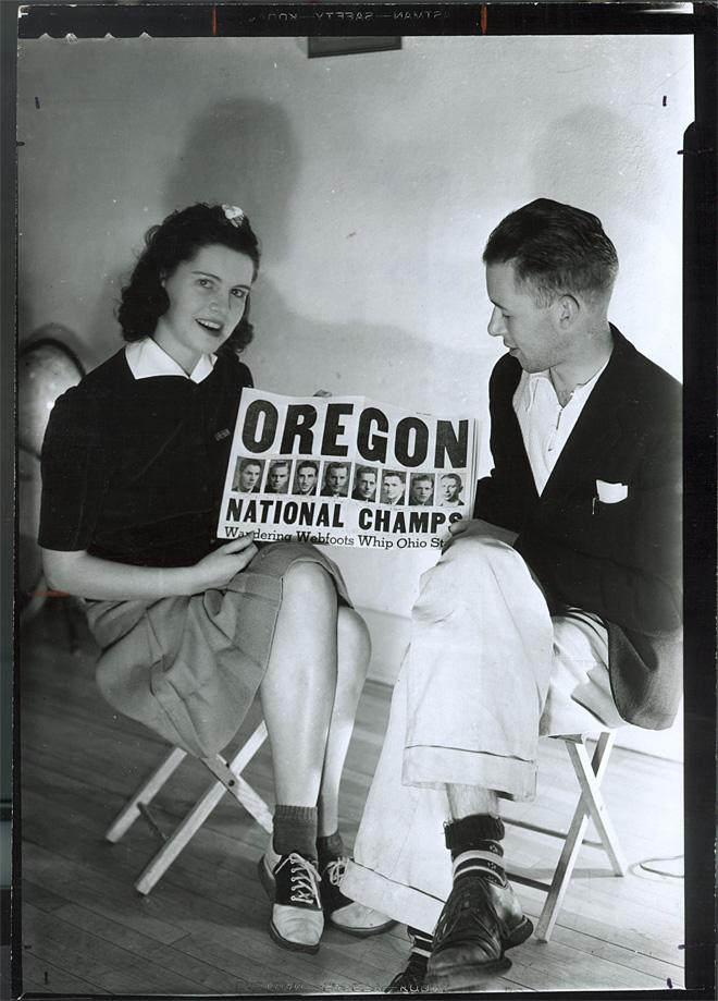 Photos chronicling the 1939 national champion Oregon Webfoots, affectionately known as the Tall Firs. (Courtesy the University of Oregon archives)