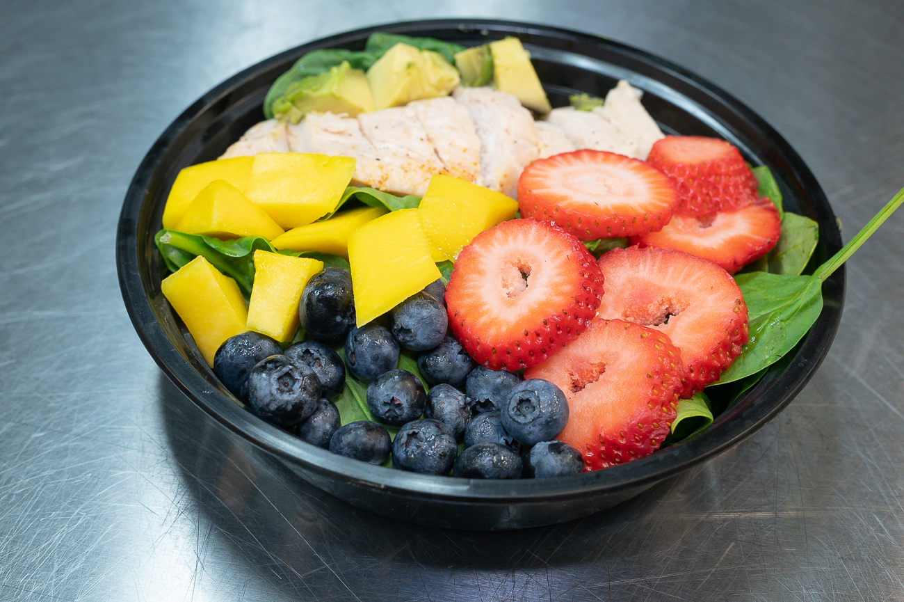 Prepped Girl's Strawberry Spinach Salad: chicken breast, strawberries, blueberries, mango / Image: Phil Armstrong, Cincinnati Refined // Published: 8.17.19