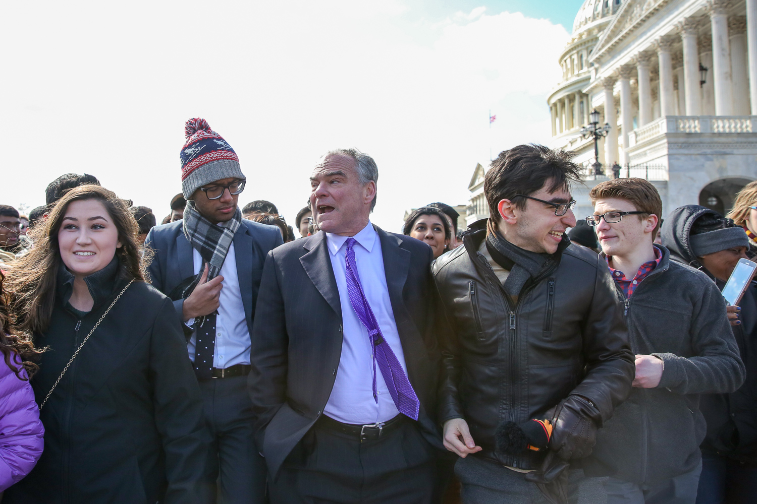 Sen. Tim Kaine (D-Virginia) came out to talk to students.{ }(Amanda Andrade-Rhoades/DC Refined)