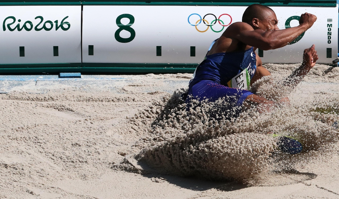 United States' Ashton Eaton makes an attempt in the long jump of the decathlon during the athletics competitions of the 2016 Summer Olympics at the Olympic stadium in Rio de Janeiro, Brazil, Wednesday, Aug. 17, 2016. (AP Photo/Lee Jin-man)