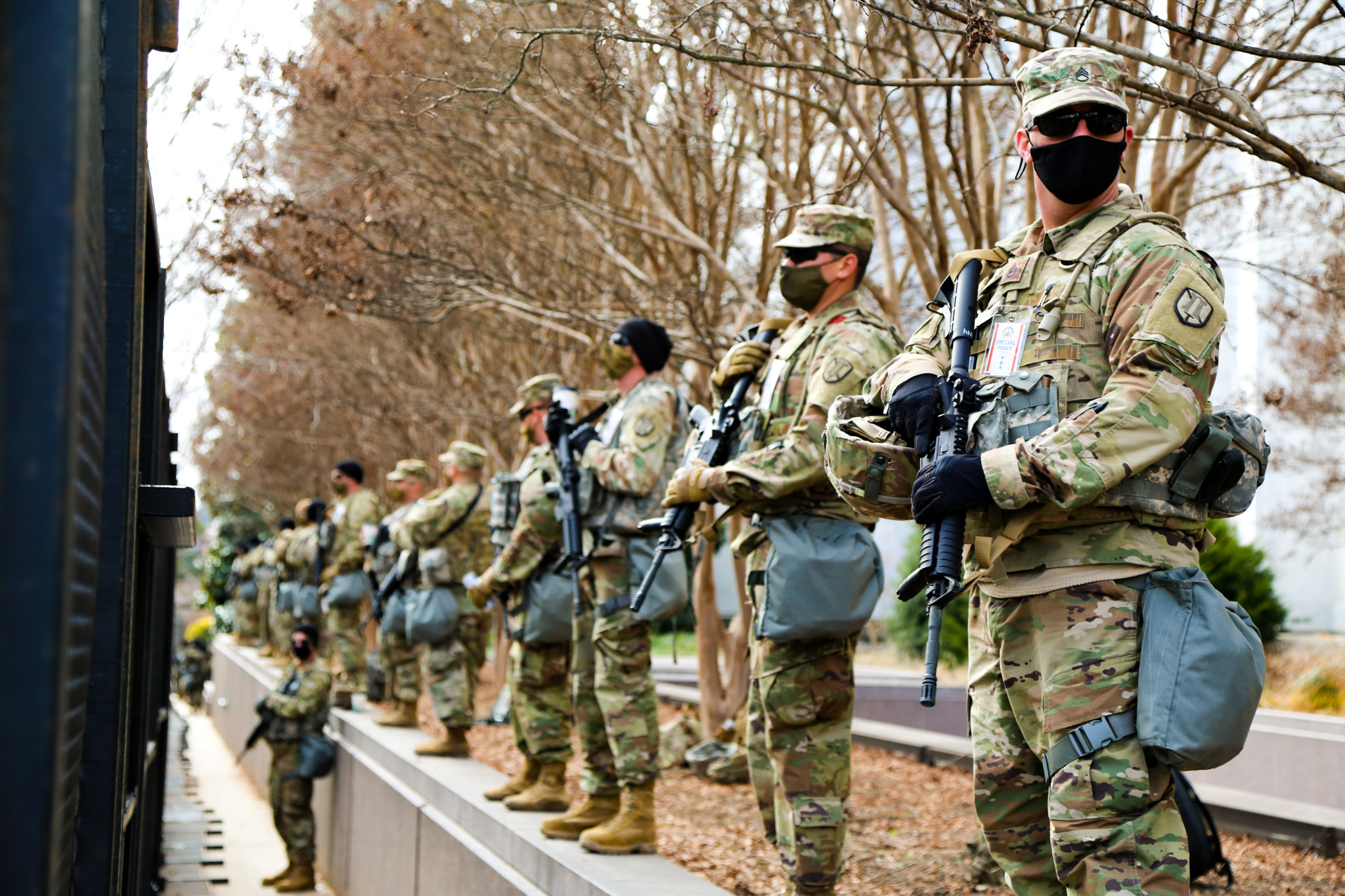 U.S. Soldiers with the Utah National Guard stand watch in Washington D.C., Jan 18, 2021. At least 25,000 National Guard men and women have been authorized to conduct security, communication and logistical missions in support of federal and District authorities leading up and through the 59thPresidential Inauguration. (U.S. Army National Guard photo by Spc. Christopher Hall)