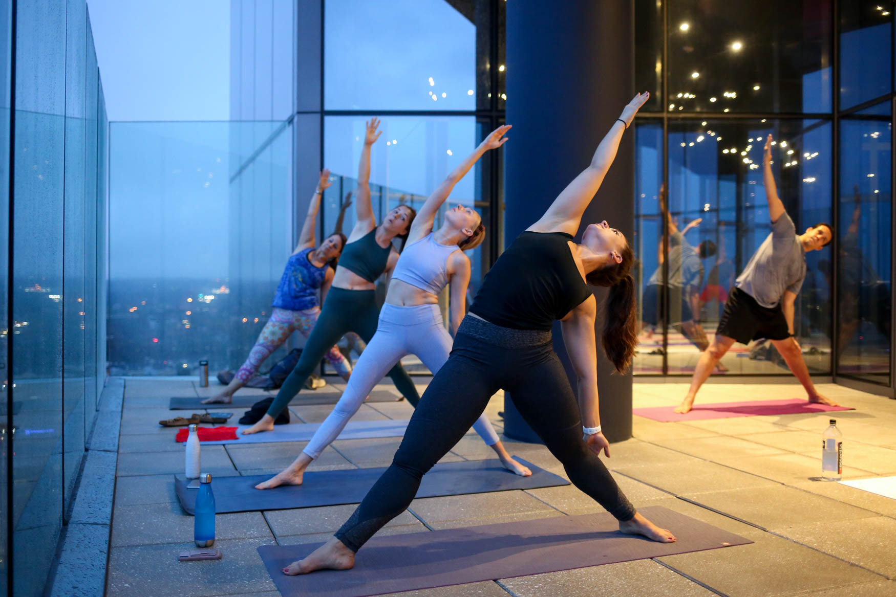 It may be hard to motivate yourself to go to yoga before dawn, but getting out of bed before the sun emerges might get a little easier if you know you're going to be rewarded with a gorgeous sunrise. The Observation Deck at CEB Tower will be hosting monthly sunrise yoga sessions. The Observation Deck is in the Rosslyn neighborhood of Arlington; it offers panoramic views of D.C., whether you're on the outdoor deck or enjoying the view behind floor-to-ceiling windows. The class, which costs $20,{ } starts before dawn, but you'll be rewarded with an unforgettable view. (Amanda Andrade-Rhoades/DC Refined)