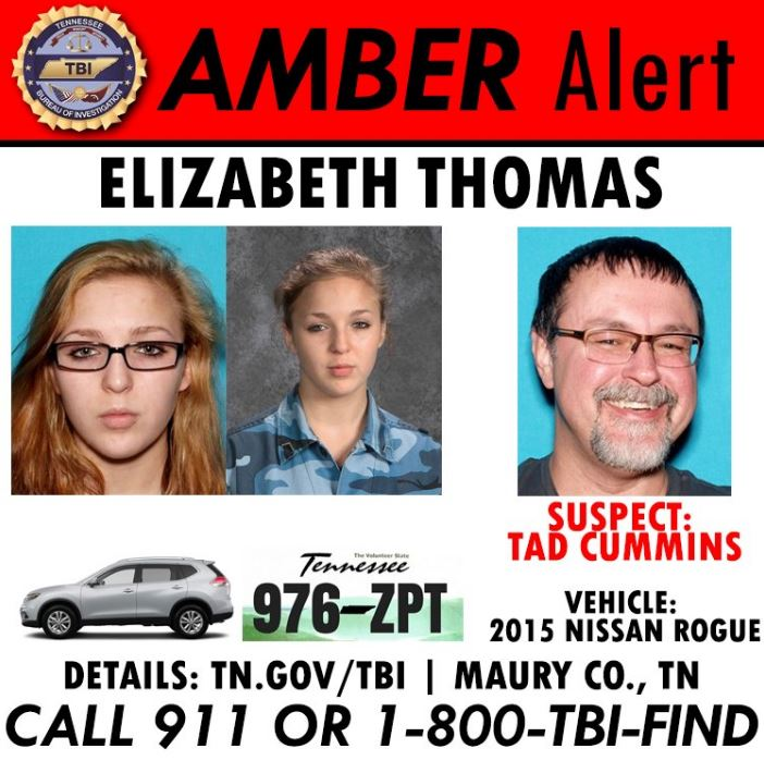 New photos released of suspect in AMBER Alert of Elizabeth Thomas (Tennessee Bureau of Investigations)