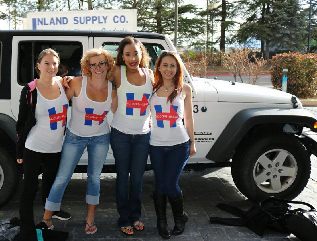 Hookers 4 Hillary encourage voters to caucus for Clinton on Friday, Feb. 19, 2016. (Hookers 4 Hillary)