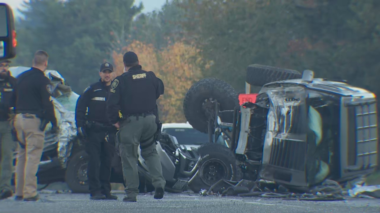 One person was killed and another person was injured in a crash on Highway 26 in Gresham on Oct. 28, 2019. KATU photo{ }