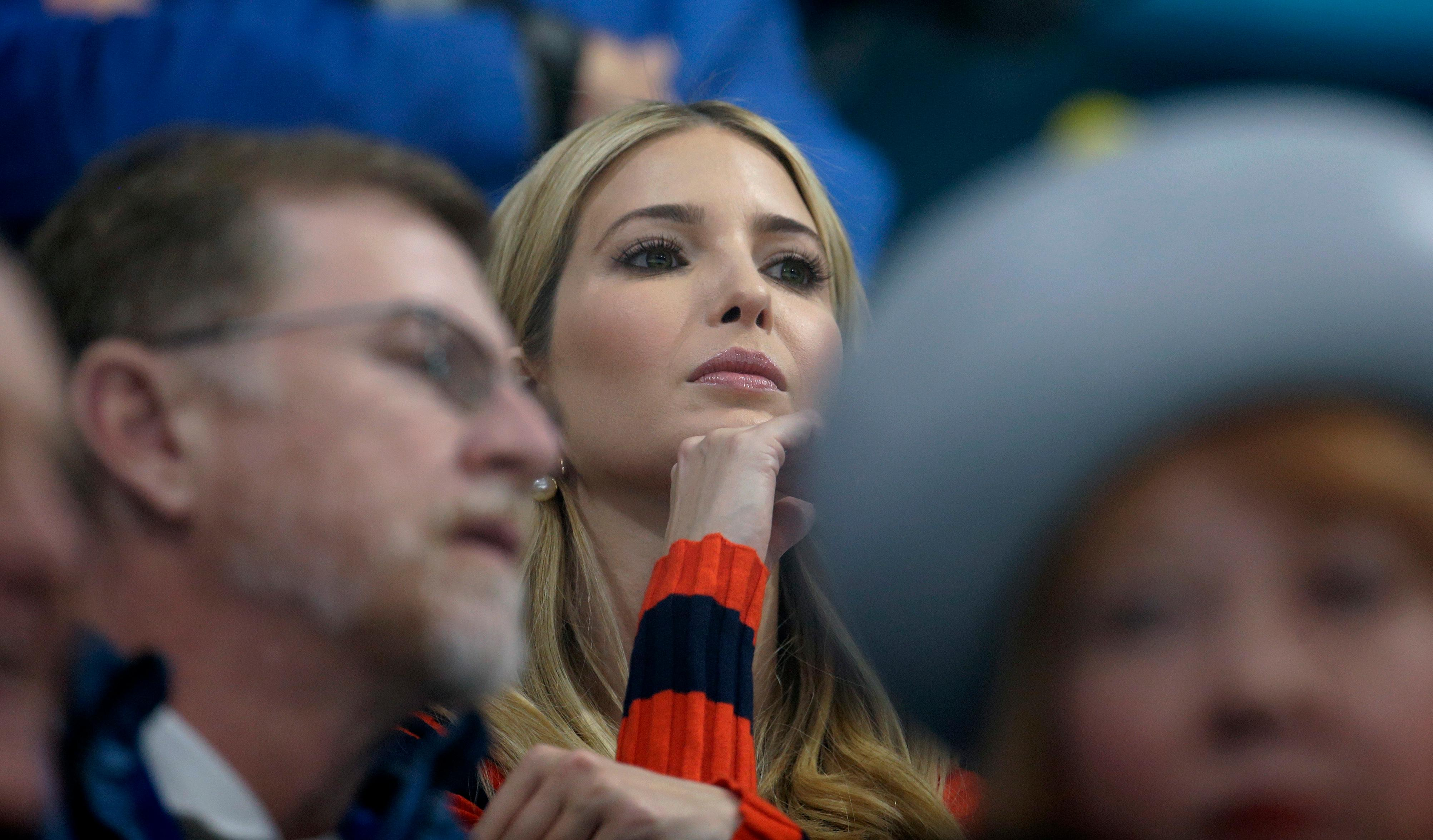 Ivanka Trump, daughter of U.S. President Donald Trump, watches the men's final curling match between United States and Sweden at the 2018 Winter Olympics in Gangneung, South Korea, Saturday, Feb. 24, 2018. (AP Photo/Natacha Pisarenko)
