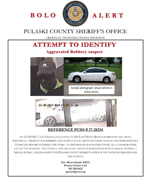 A &quot;be on the lookout&quot; alert for the suspect. (Photo courtesy: Pulaski County Sheriff's Office)<p></p>