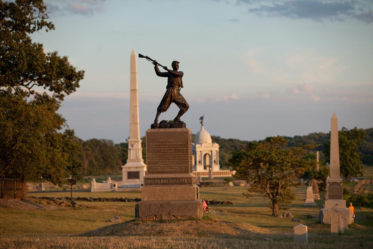 There are 1,328 monuments, memorials and markers across the battlefield Gettysburg National Military Park - making it one of the largest collections of outdoor sculptures in the world. (Photo courtesy of Destination Gettysburg/Jeremy Hess)