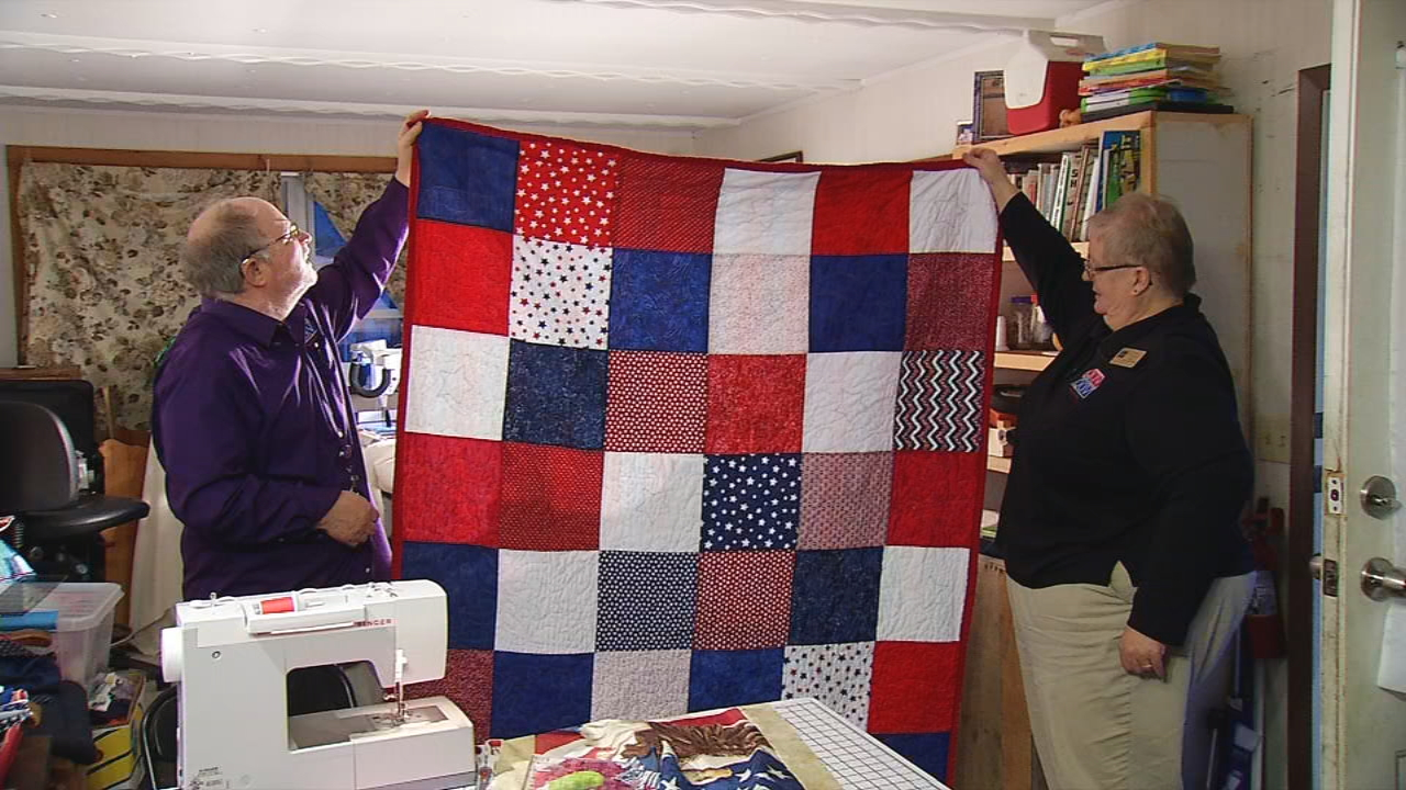 Rex and Donna Brookings have helped award 75 veterans &quot;Quilts of Valor&quot; this year. They work out of their home in Gorham with the help of other volunteers (WGME).<p></p>