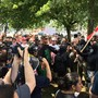 Opposing groups clash in violent protests in downtown Portland