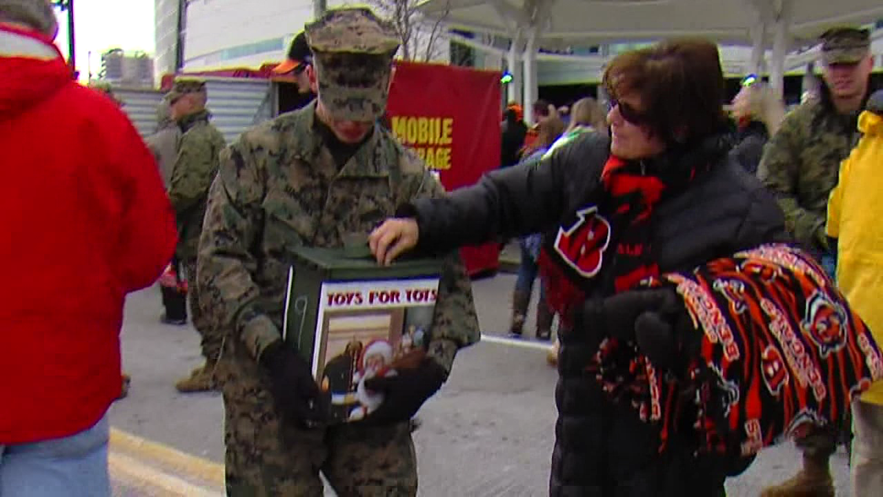 Marines will collect toys and cash donations at the Bengals game on December 10 (WKRC file)<p></p>