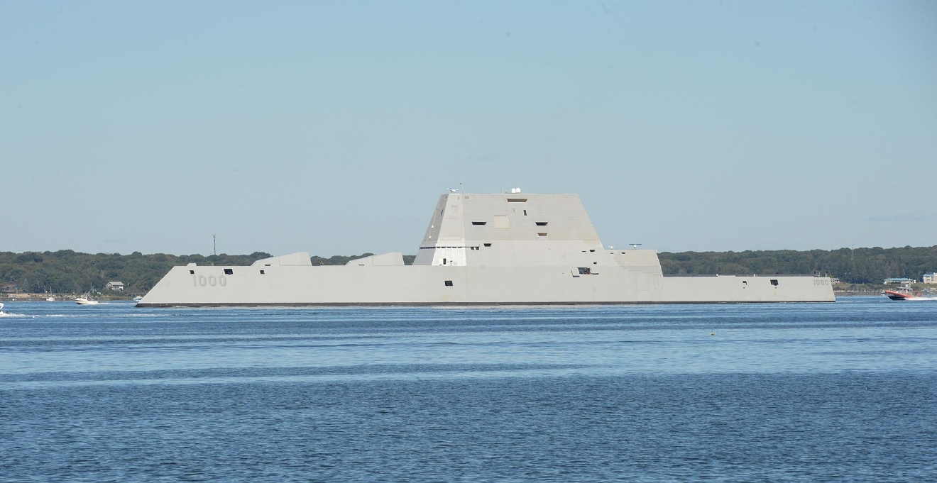 The guided-missile destroyer Pre-Commissioning Unit (PCU) Zumwalt (DDG 1000) (U.S. Navy photo by Haley Nace/Released)