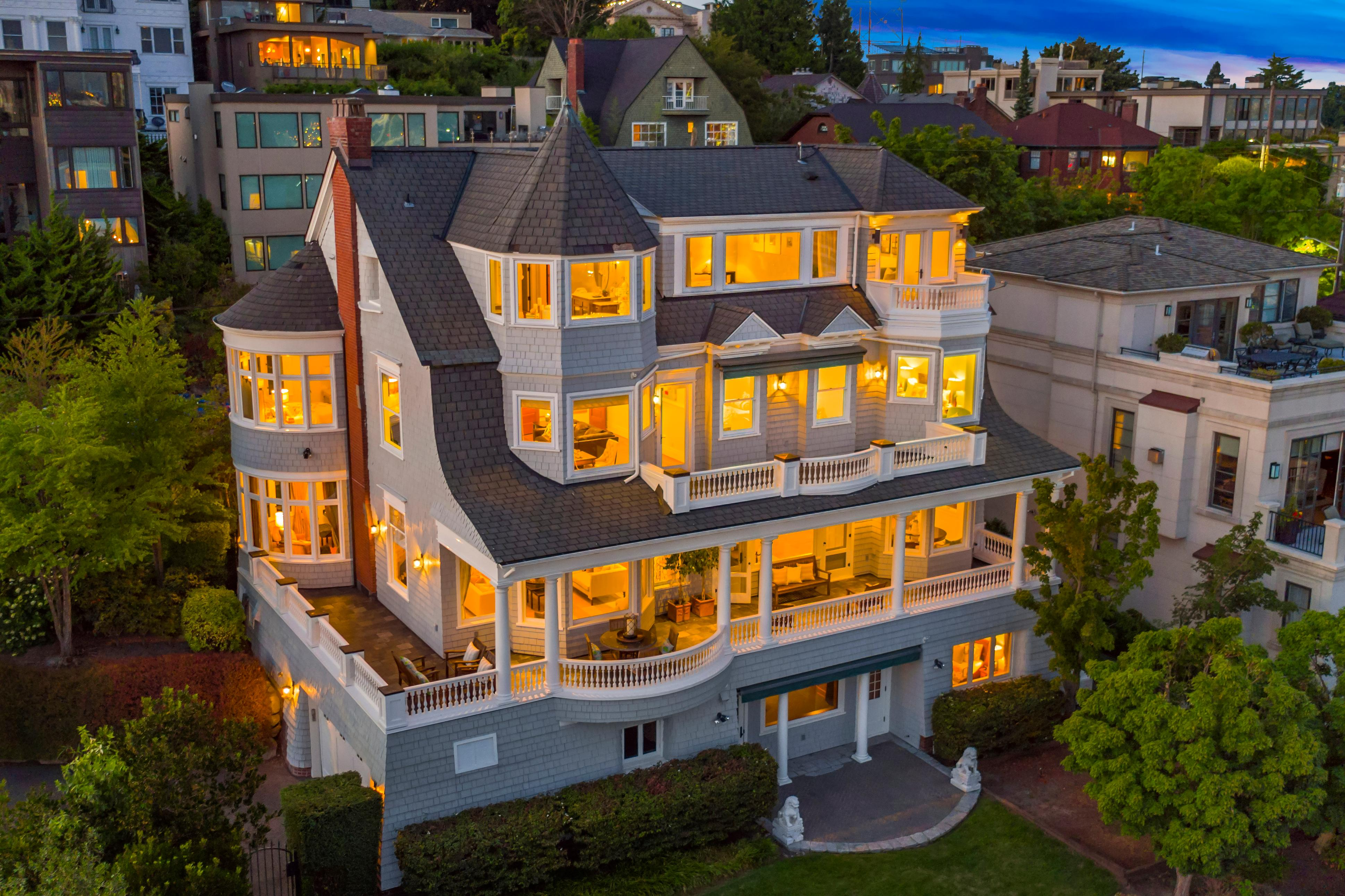 Located on Queen Anne's iconic Highland Drive, this gorgeous home has views of the Space Needle from nearly every room. No like seriously - you can't get away from it if you even tried. (Image courtesy of Windermere)