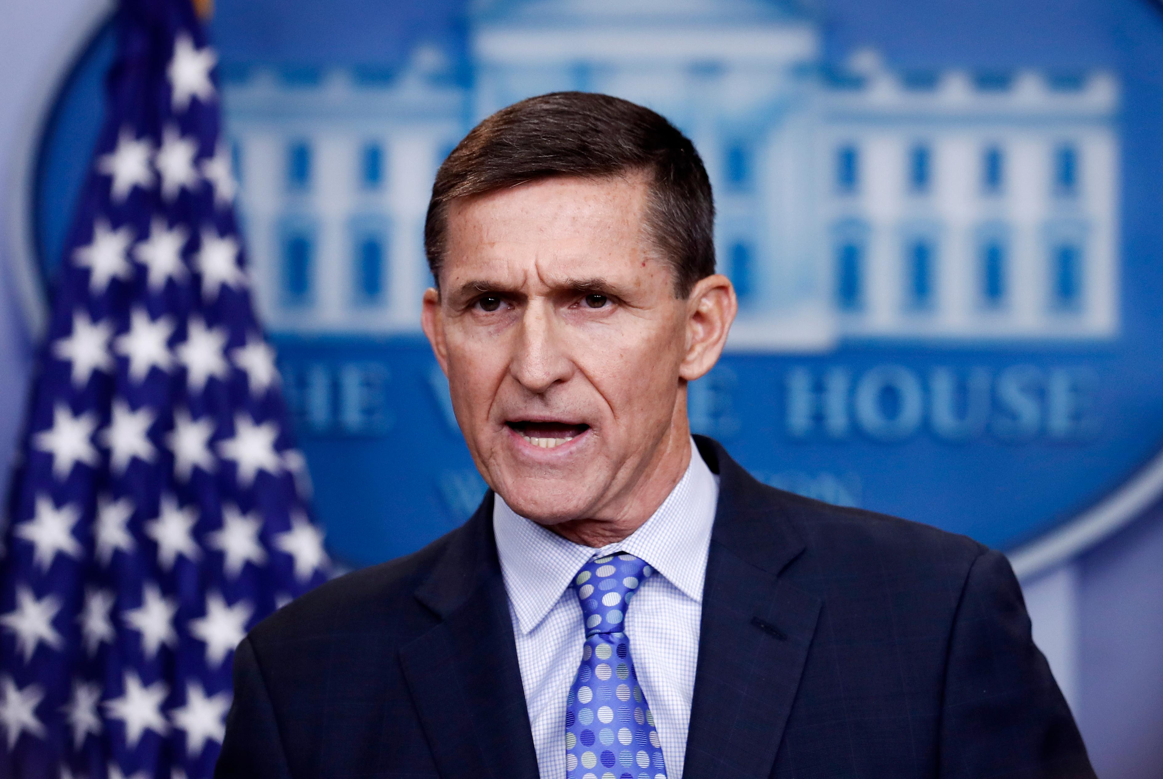 FILE - In this Feb. 1, 2017 file photo, National Security Adviser Michael Flynn speaks during the daily news briefing at the White House, in Washington.{ } (AP Photo/Carolyn Kaster)