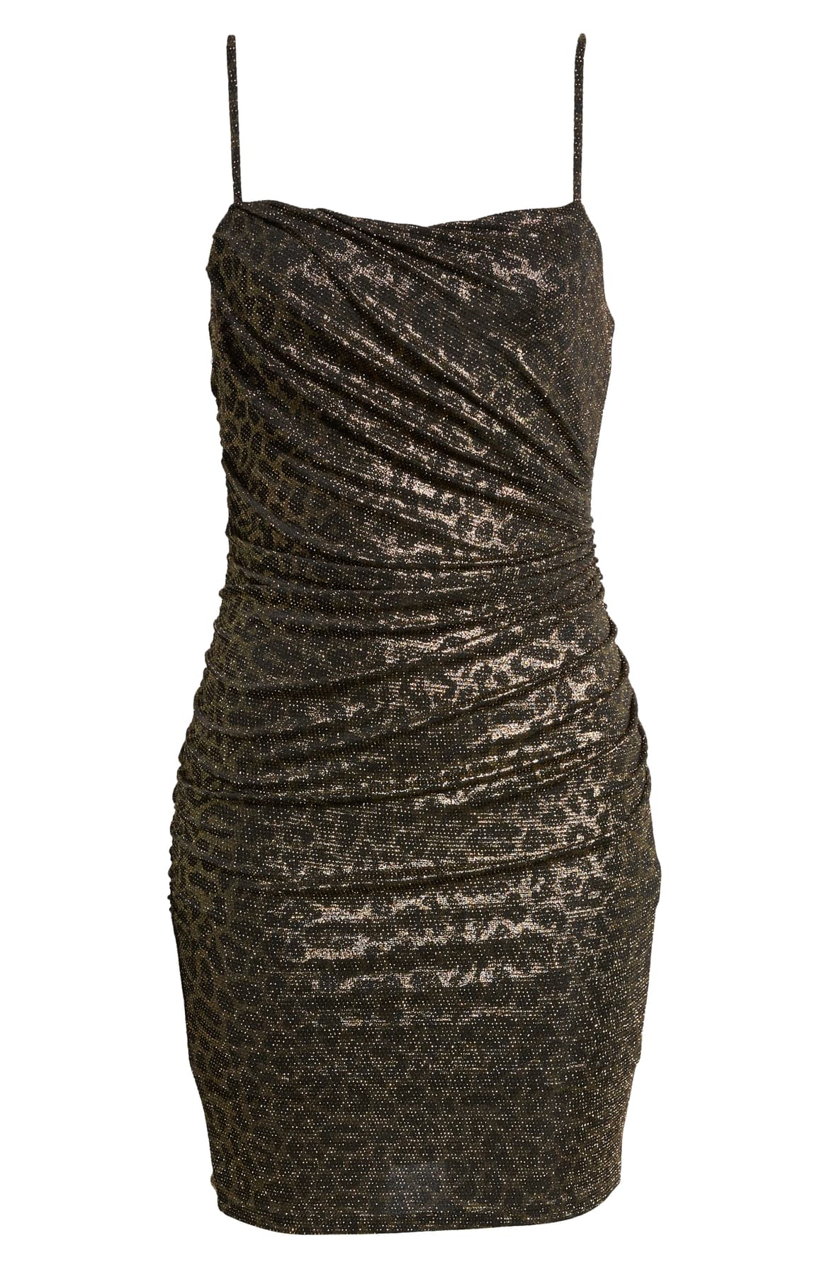 "<a  href=""https://shop.nordstrom.com/s/leith-ruched-body-con-minidress/5332097/full?origin=keywordsearch-personalizedsort&breadcrumb=Home/All%20Results&color=gold%20black%20leopard"" target=""_blank"" title=""https://shop.nordstrom.com/s/leith-ruched-body-con-minidress/5332097/full?origin=keywordsearch-personalizedsort&breadcrumb=Home/All%20Results&color=gold%20black%20leopard"">Ruched Body-Con Minidress - $35.40</a>.{&nbsp;}From cozy to gold hued to tailored, Nordstrom has the hottest trends for getting glam this holiday season! (Credit: Nordstrom)"