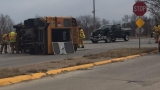 3 injured after truck hits school bus