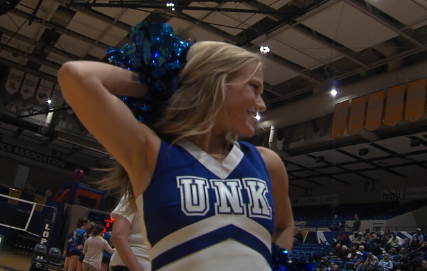 A UNK cheerleader keeps the crowd entertained during a timeout, Nov. 3, 2017 at the Health and Sports Center in Kearney, Neb. (KHGI)<p></p>