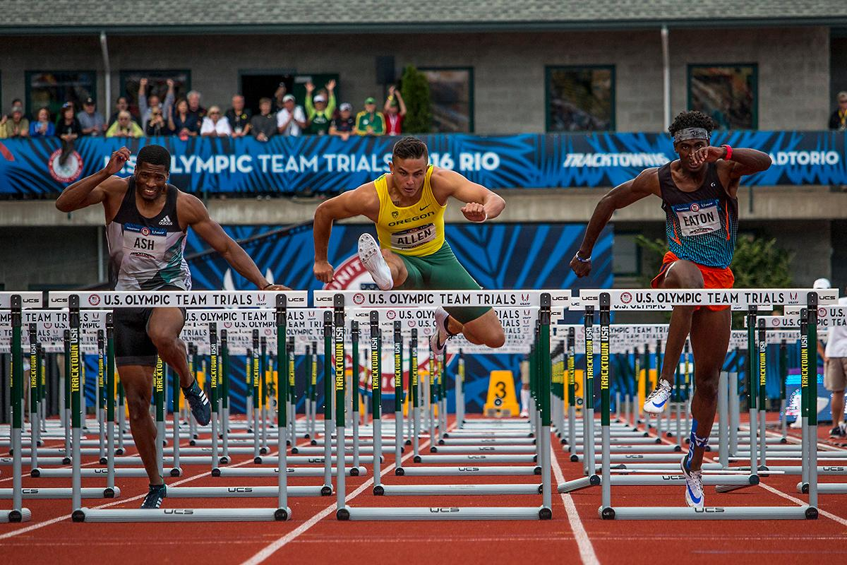 Oregon Duck Devon Allen completes the final hurdle in the men's 110 meter hurdle finals. Allen placed first in 13.03 and will represent the U.S. in Rio. Oregon Duck Devon Allen completes the sign of the cross as he prepares for the finals in the men's 110 meter hurdles. Day Nine of the U.S. Olympic Trials Track and Field continued on Saturday at Hayward Field in Eugene, Ore. and will continue through July 10. Photo by Katie Pietzold