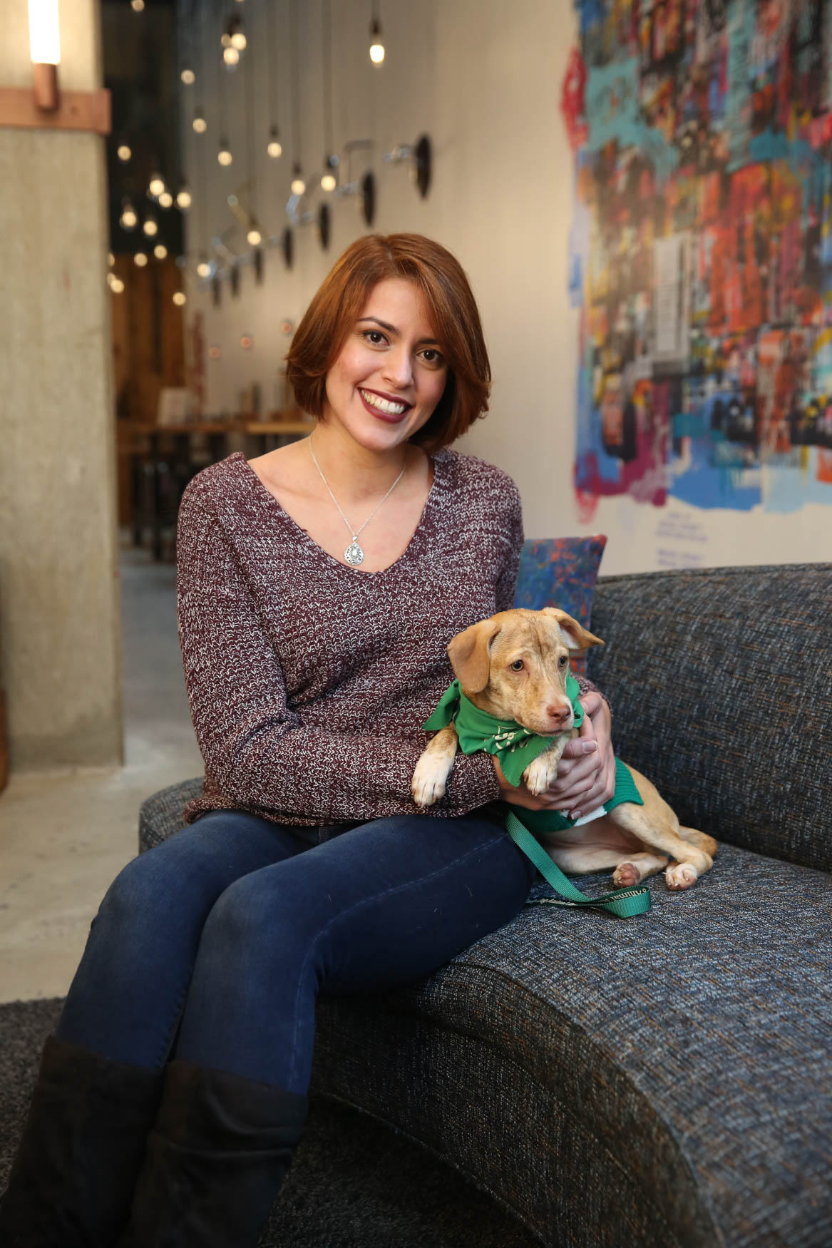 Queen Elizabeth is an 8-pound pup looking for a family to love her, take her on long walks to the dog park and then to cuddle up with on the couch and watch movies! Photo location: Moxy Washington, D.C. Downtown (Image: Amanda Andrade-Rhoades/ DC Refined)