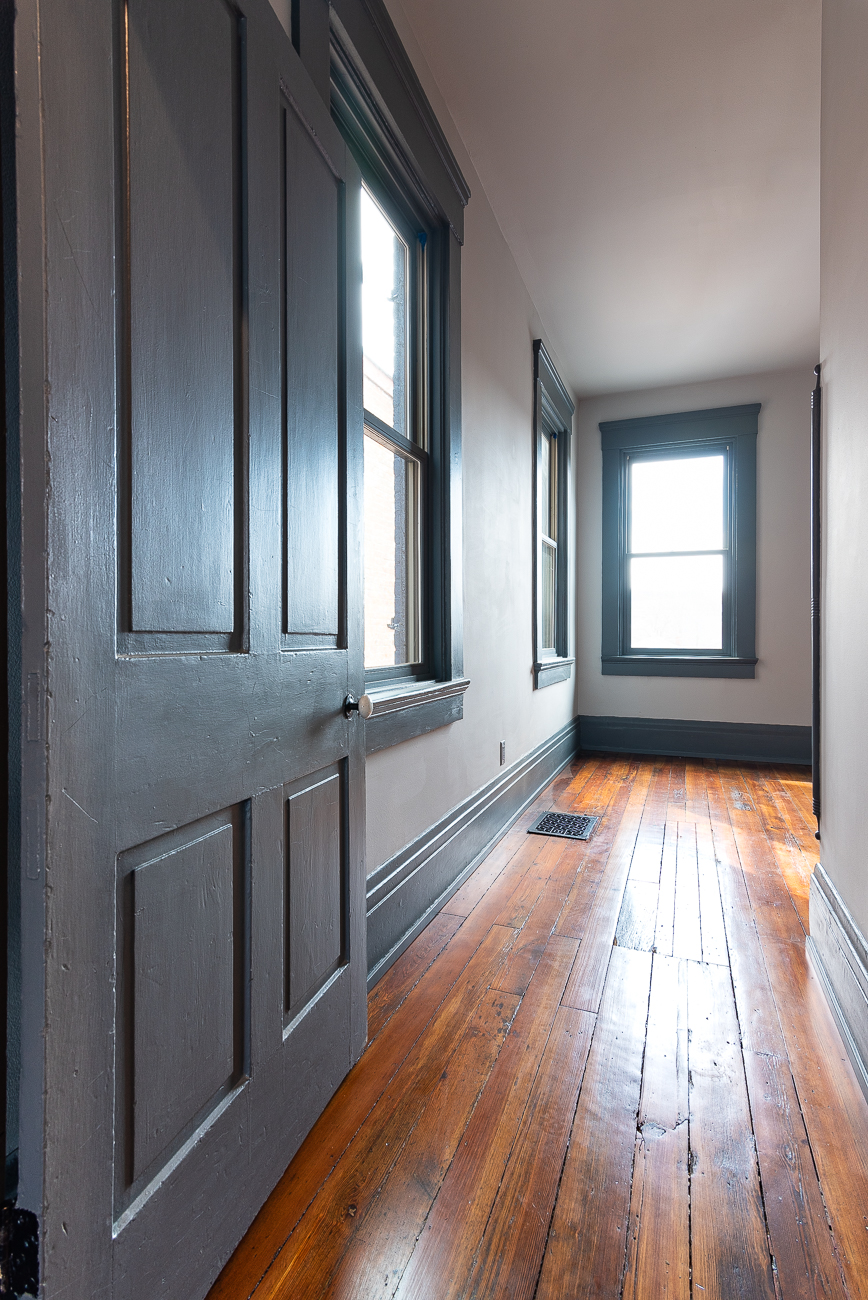 Tom used solid wood doors in lieu of cheap hollow core doors in the redesign to match the feel of what was previously in the home. / Image: Phil Armstrong, Cincinnati Refined // Published: 3.15.19
