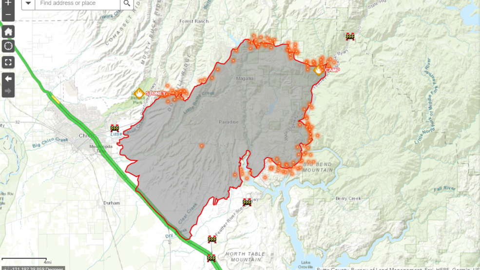 Camp Fire Interactive Map | KRCR