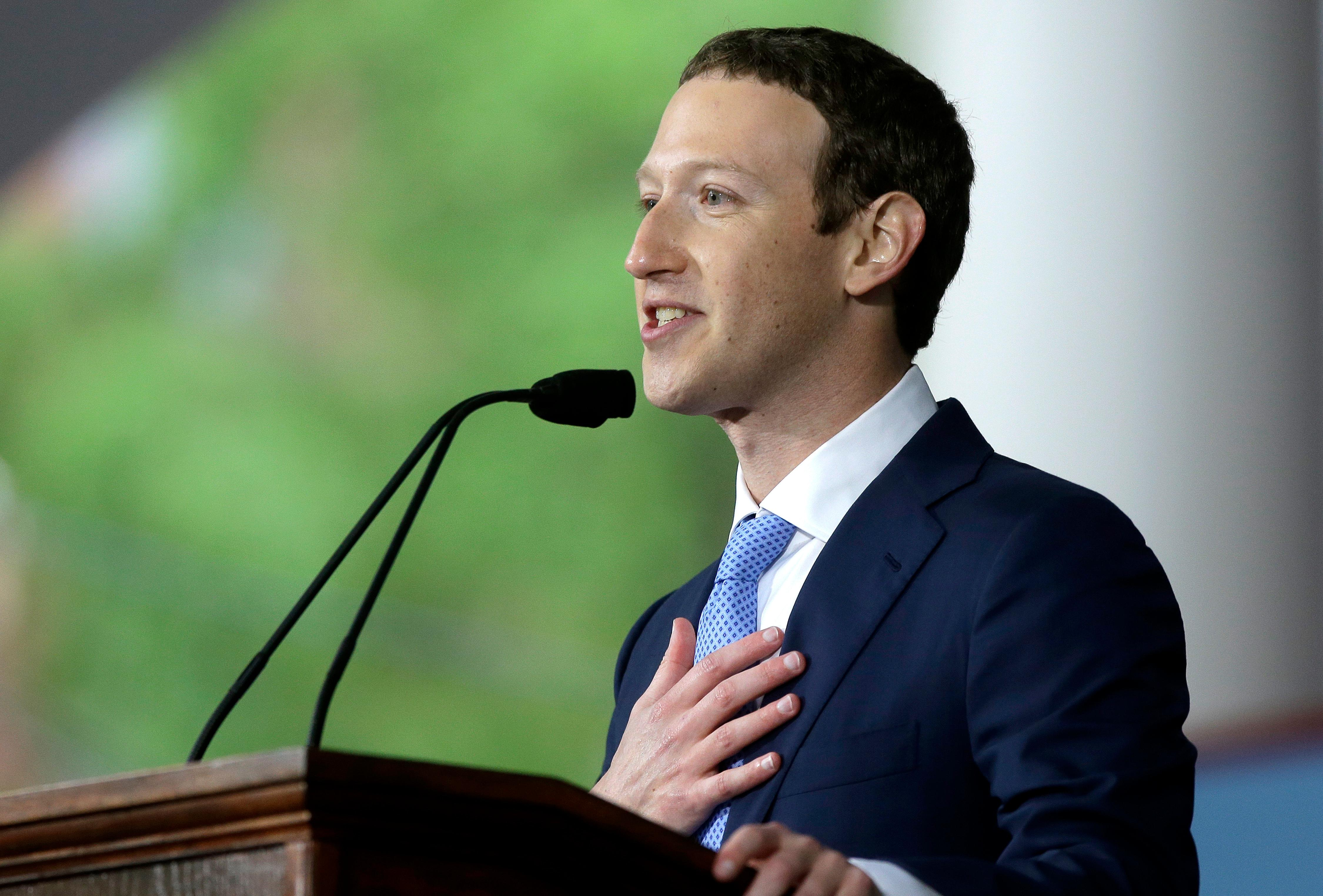 "FILE- In this May 25, 2017, file photo, Facebook CEO Mark Zuckerberg delivers the commencement address at Harvard University commencement exercises in Cambridge, Mass. Technology companies and executives of other industries criticized the Trump administration for its plan to undo protections for hundreds of thousands of young immigrants and called on Congress to help them. Zuckerberg called the decision ""a sad day for our country"" in a post , adding that it is ""particularly cruel to offer young people the American Dream, encourage them to come out of the shadows and trust our government, and then punish them for it."" (AP Photo/Steven Senne, File)"