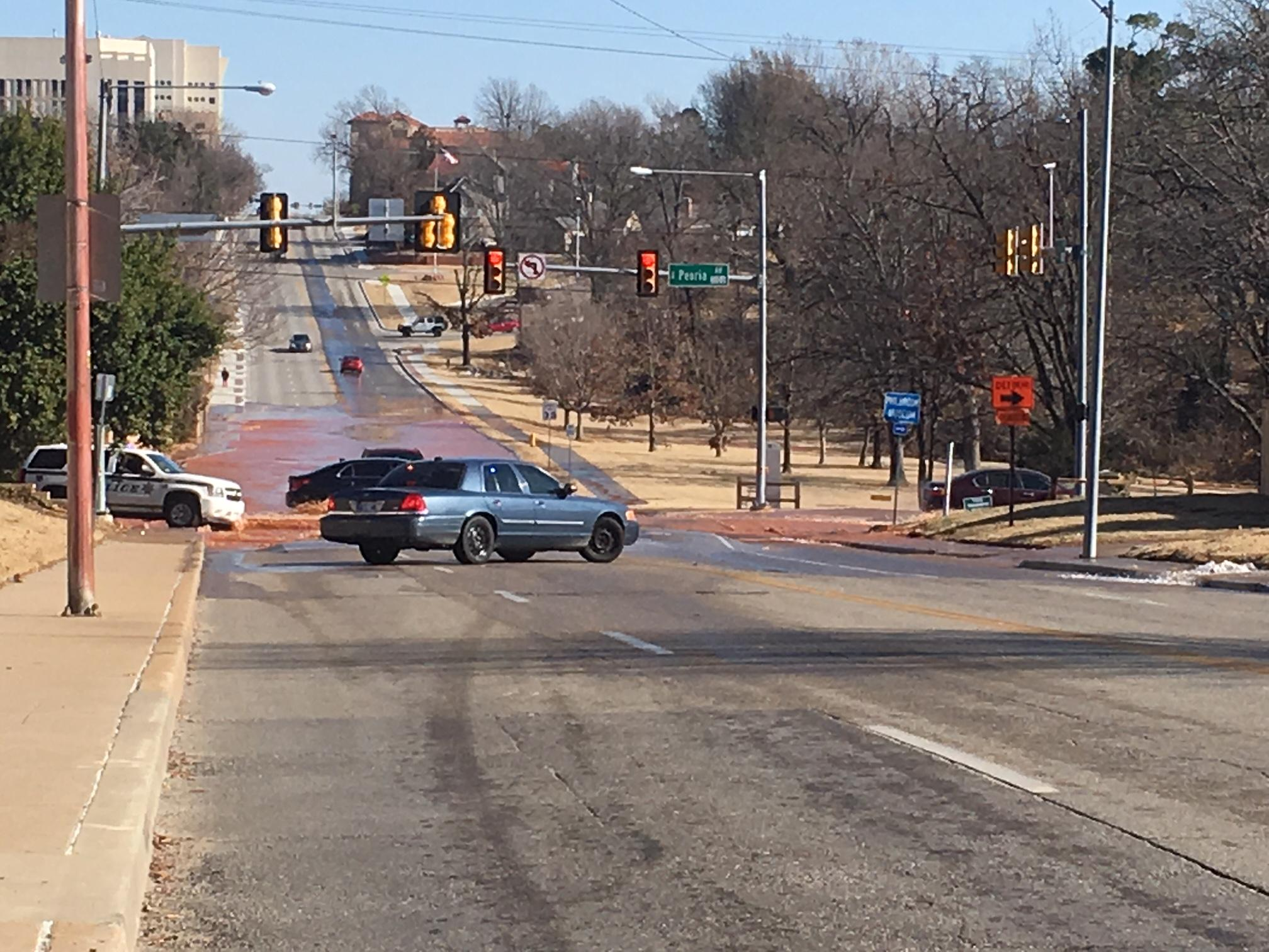 Water line break near 21st and Peoria (KTUL)