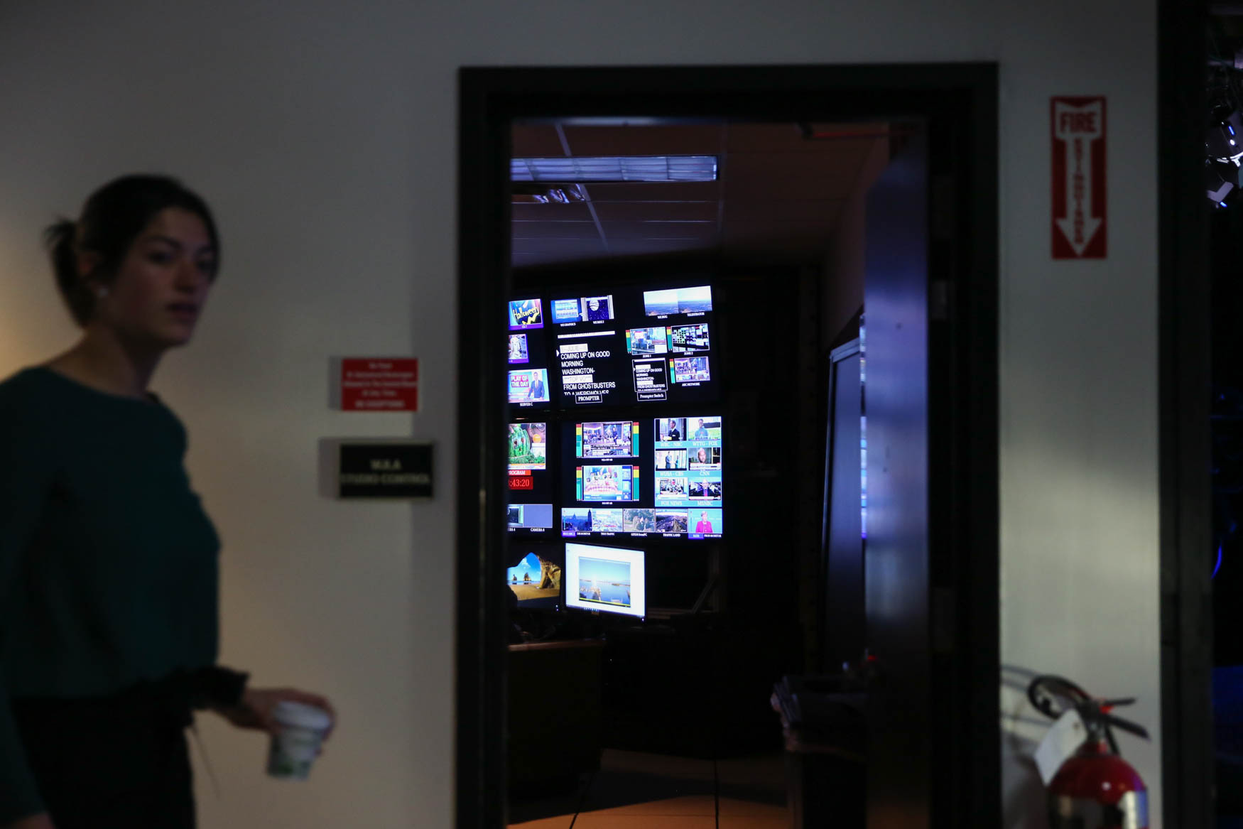 The control room where behind-the-scenes staff can monitor what's happening on air. (Amanda Andrade-Rhoades/DC Refined)