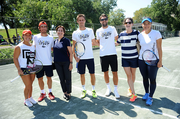 NEW YORK, NY - AUGUST 28: (L-R)  Kristie Ahn, Pablo Cuevas, Beryl Lacoste-Hamilton, ?douard Roger-Vasselin, Jeremy Chardy, Nathalie Dechy and Latisha Chan attend the ACOSTE And City Parks Foundation Host Tennis Clinic In Central Park at Central Park Tennis Center on August 28, 2016 in New York City.  (Photo by Brad Barket/Getty Images for LACOSTE)