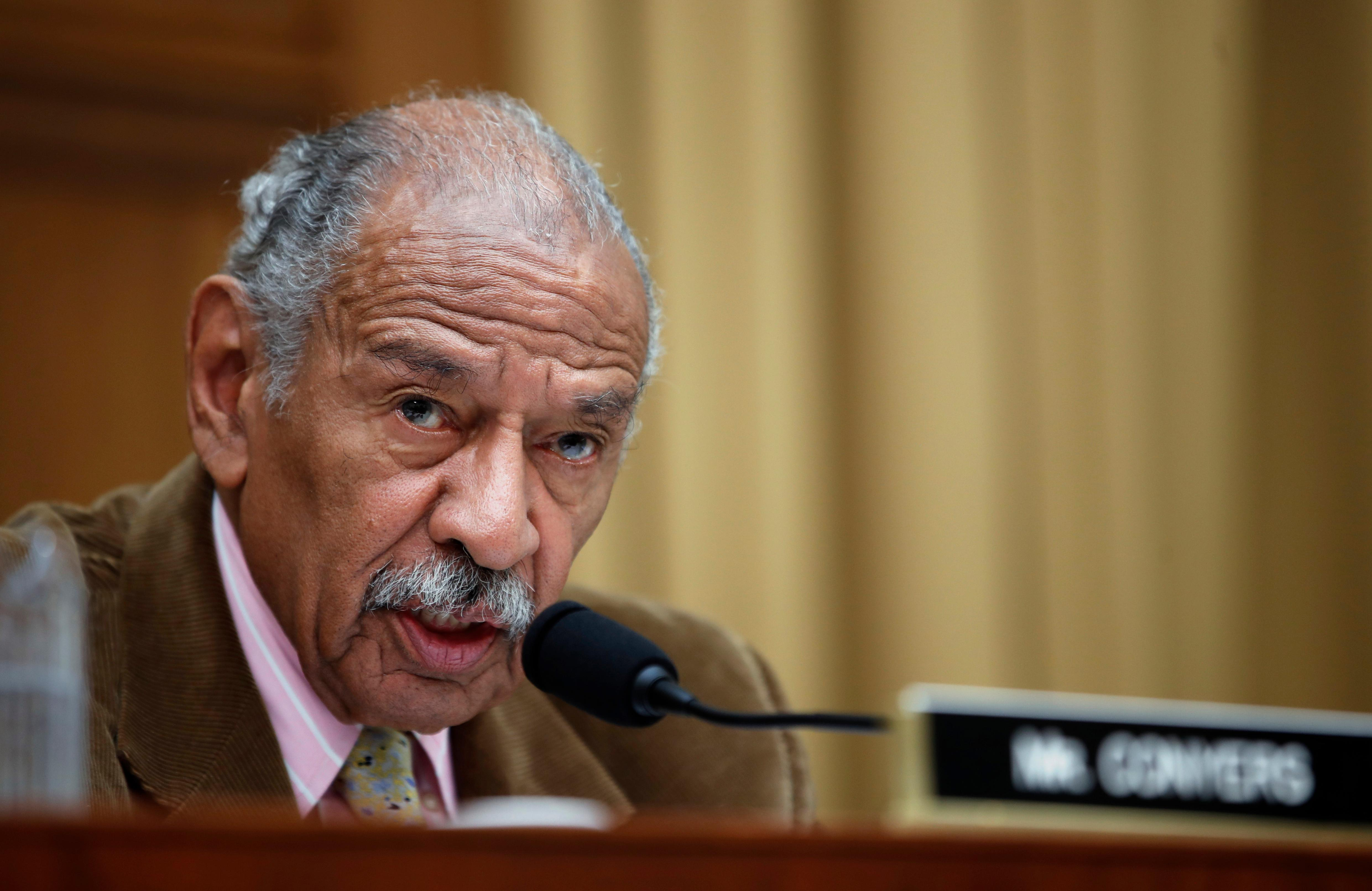 FILE- In this April 4, 2017, file photo, Rep. John Conyers, D-Mich., speaks during a hearing of the House Judiciary subcommittee on Capitol Hill in Washington. (AP Photo/Alex Brandon, File)<p></p>