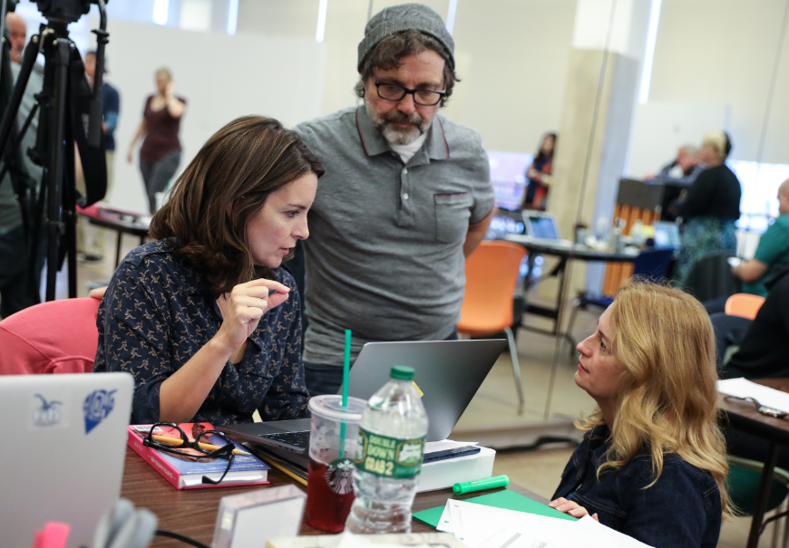 Tina Fey (book), Jeff Richmond (music) sand Nell Benjamin (lyrics) in rehearsals before the World Premiere of &quot;Mean Girls&quot; at the National Theatre running October 31 through December 3. The show will preview on Broadway beginning March 12 before opening night on April 8, 2018. (Image: Joan Marcus)<p></p>
