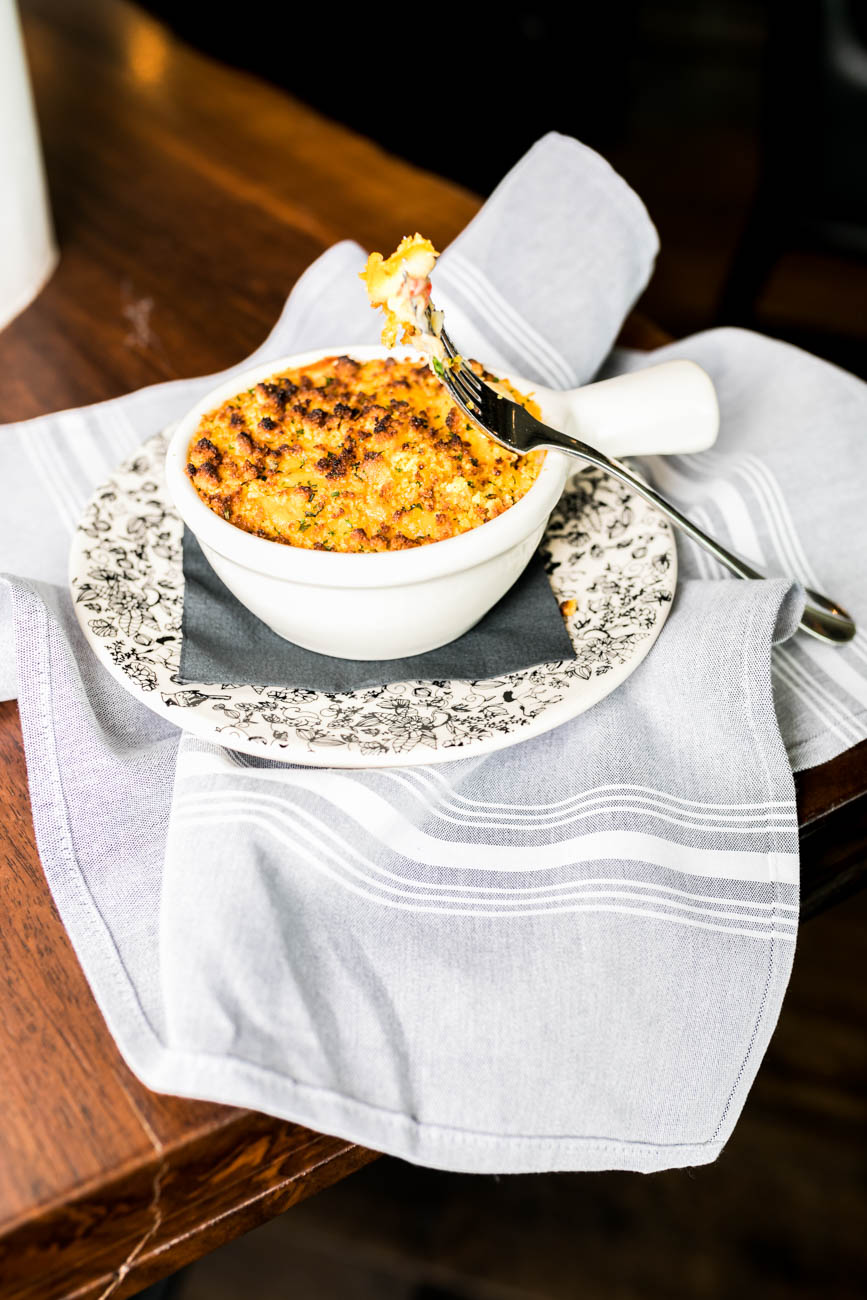 Pimento macaroni and cheese topped with corn bread gremolata / Image: Amy Elisabeth Spasoff // Published: 4.23.18